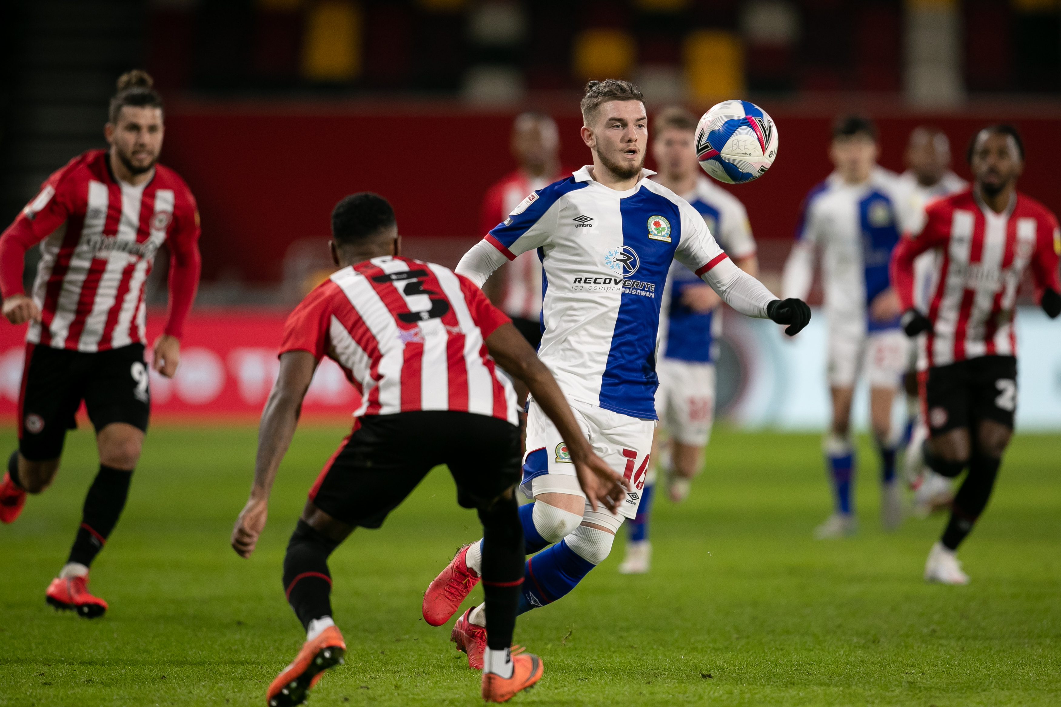 Harvey Elliot of Blackburn Rovers during the Sky Bet Championship match between Brentford and Blackburn Rovers at the Brentford Community Stadium, Brentford on Saturday 5th December 2020.