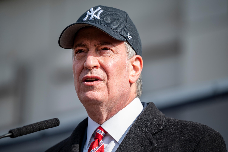 Mayor Bill de Blasio speaks on the first day of coronavirus vaccinations at Yankee Stadium, Feb. 5, 2021.
