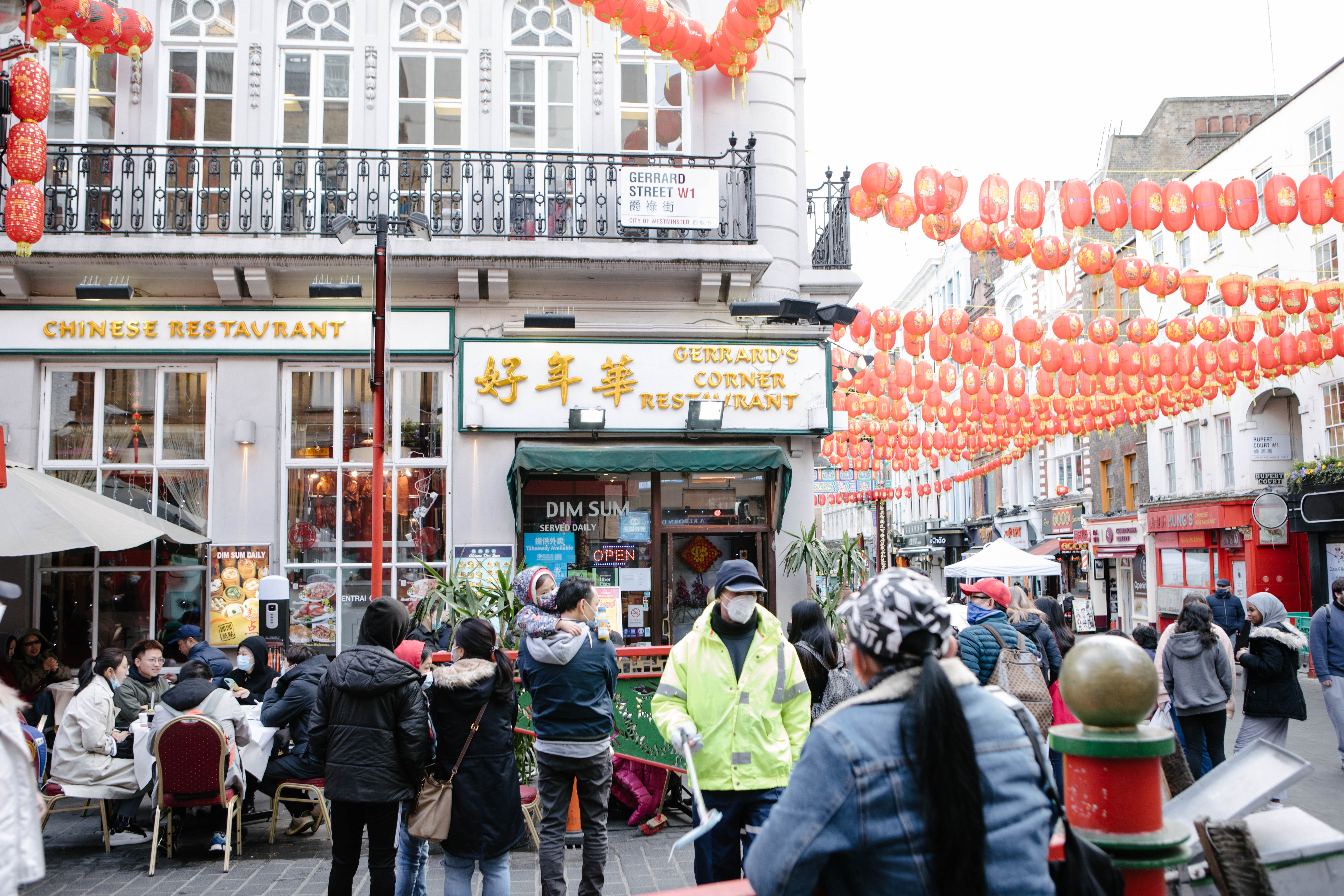 Cafes and restaurants in Gerrard Street in Chinatown are open for outdoor dining