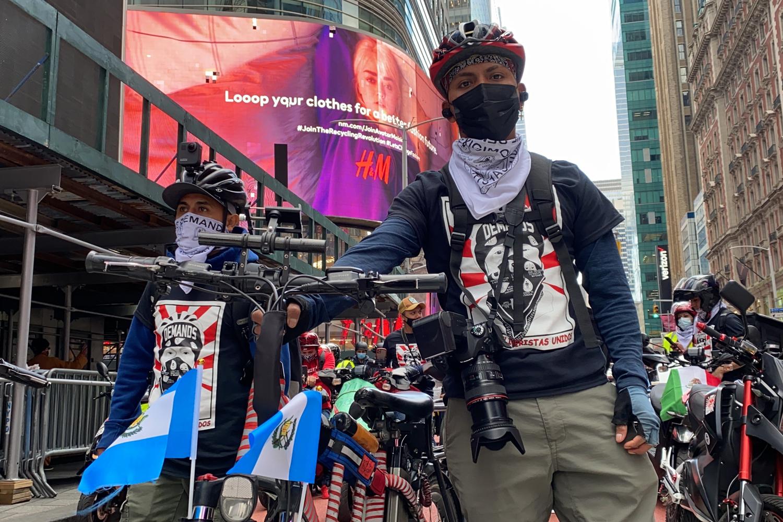 Los Deliveristas Unidos protest in Times Square, New York, NY on April 21, 2021.