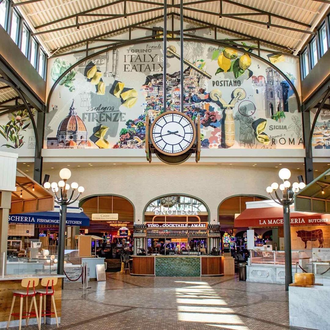 The inside of an Italian market