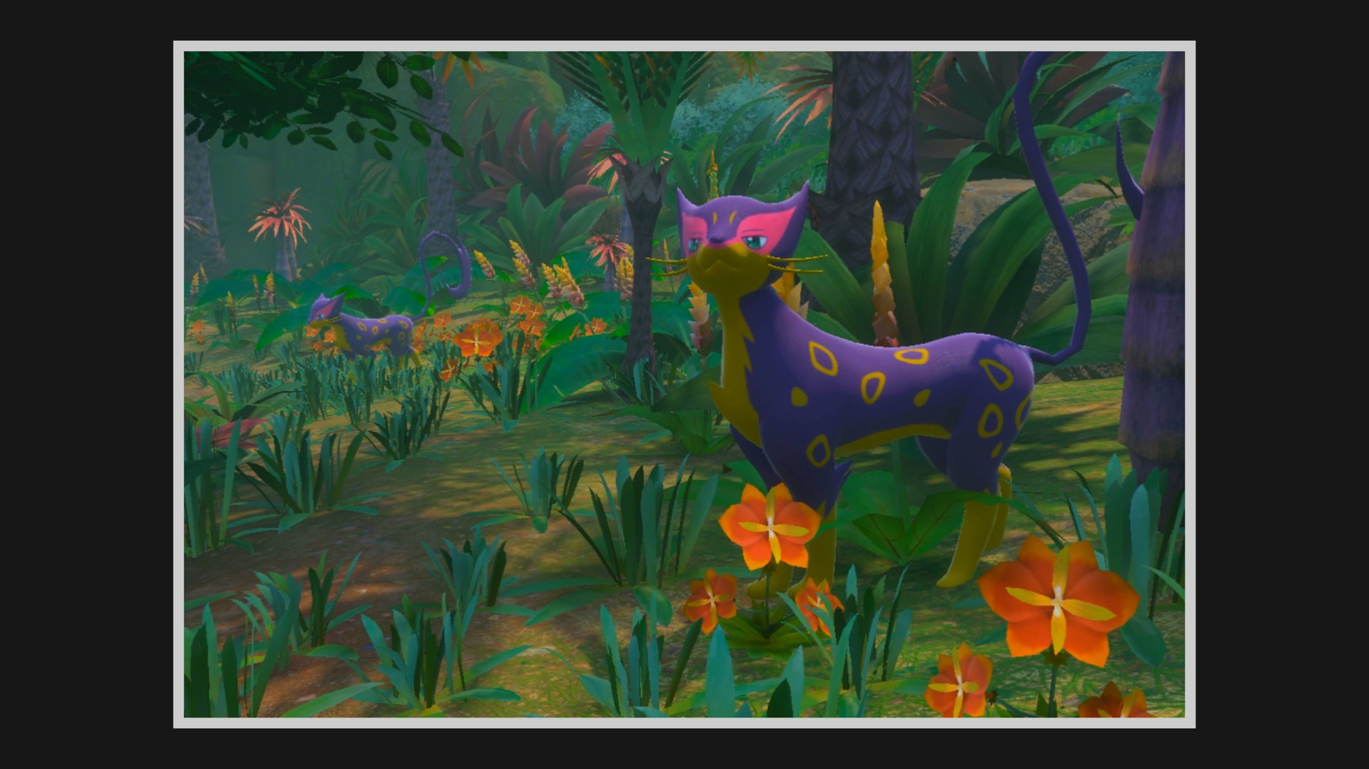 A Liepard looks up while standing in a lush green flower bed