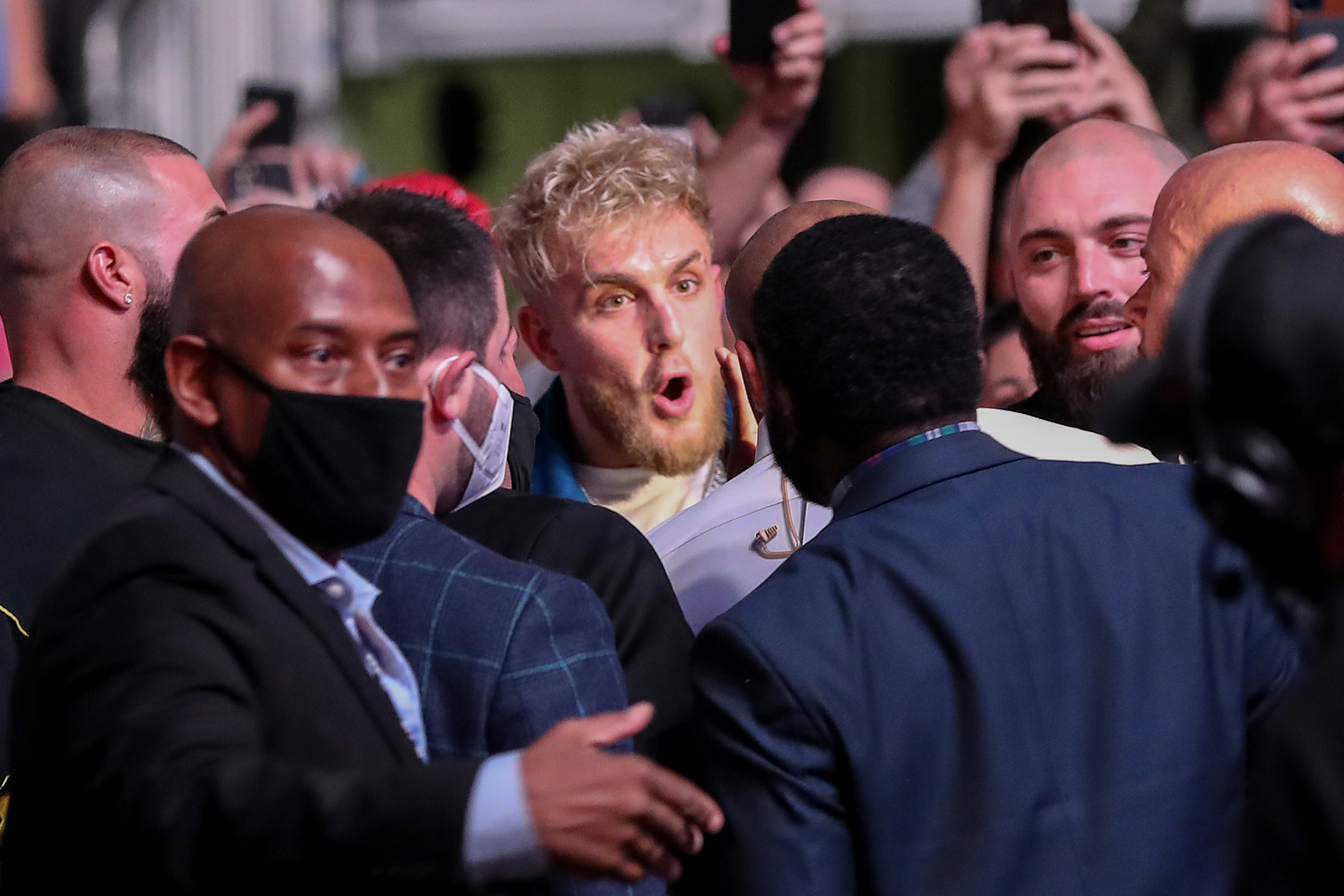 Jake Paul and Daniel Cormier come face to face at UFC 261 for no good reason at UFC 261 in Jacksonville, Florida.