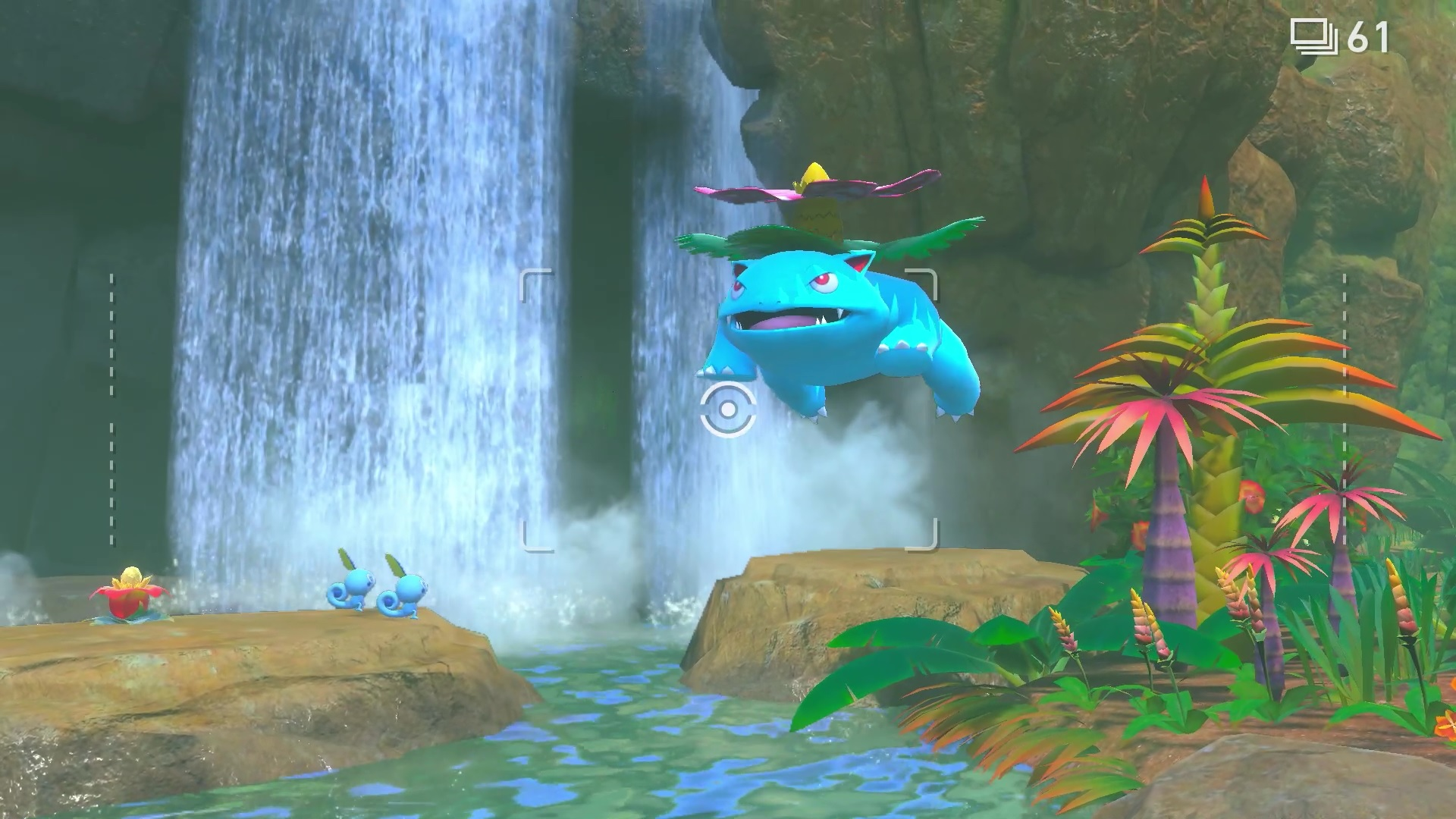 Venusaur leaps into a lake near some Sobble in a screenshot from New Pokémon Snap