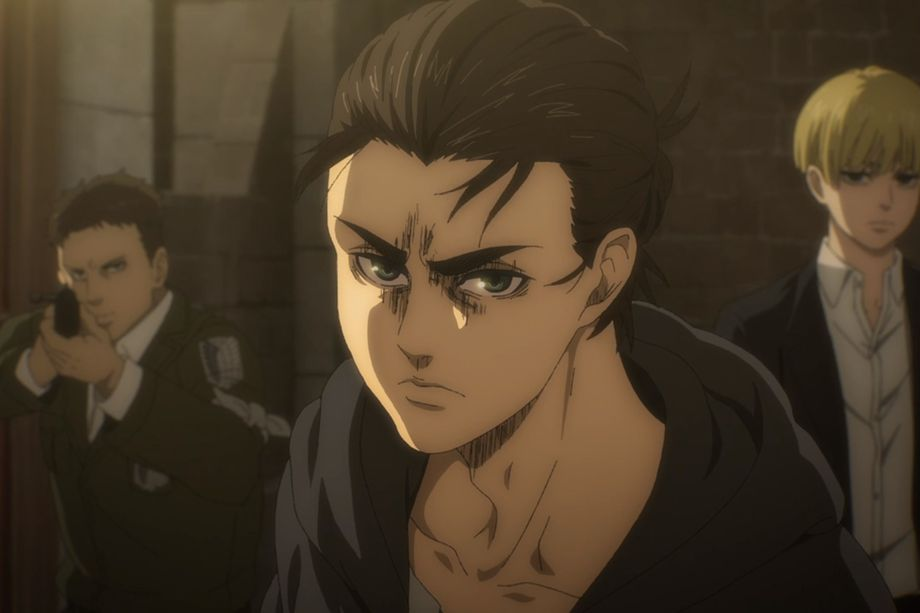 An image of the anime character, Eren Yaeger's face. He looks a little angry and is looking directly into the camera.