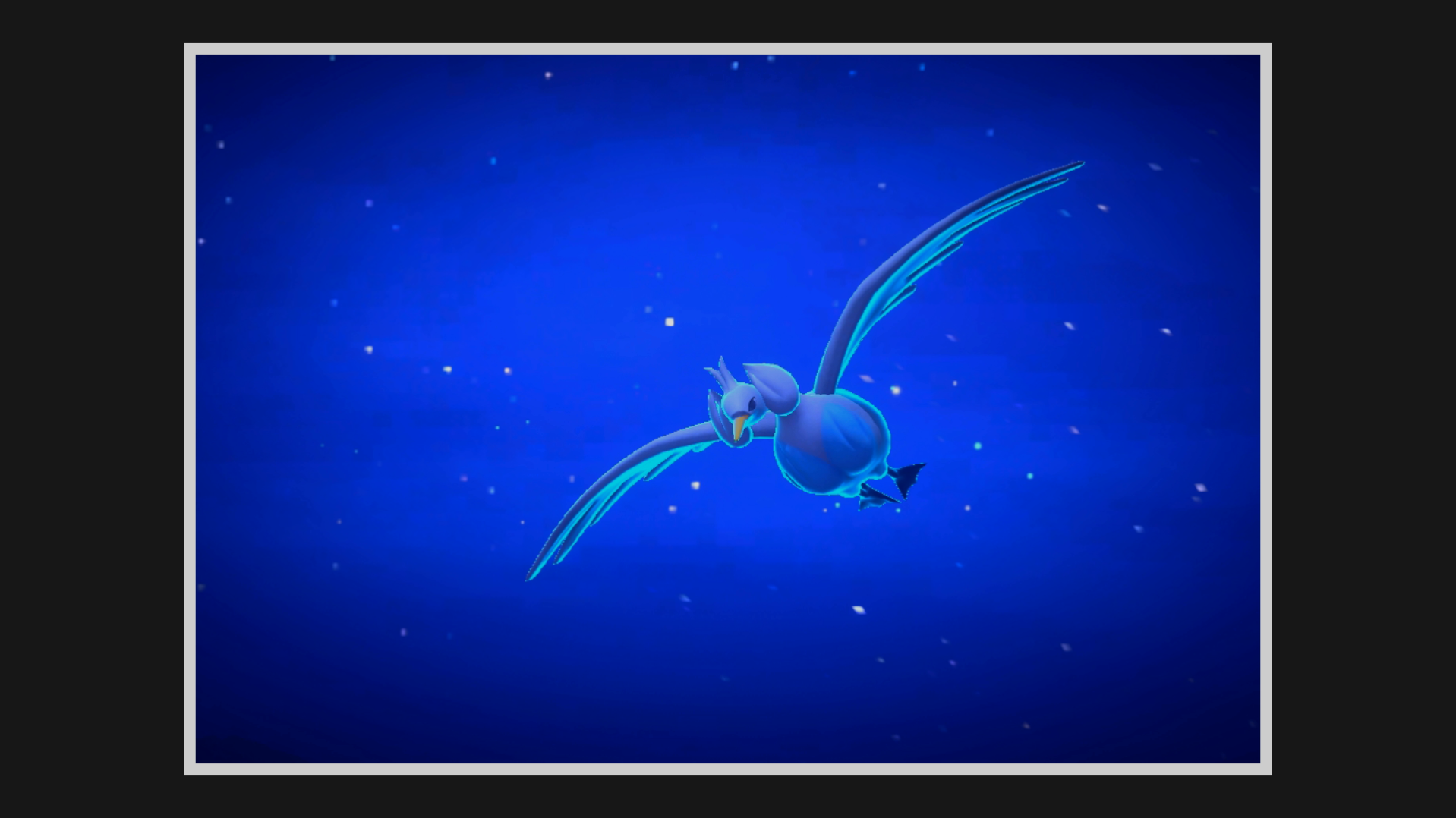 A Swanna with a blue glow flies through the nighttime sky