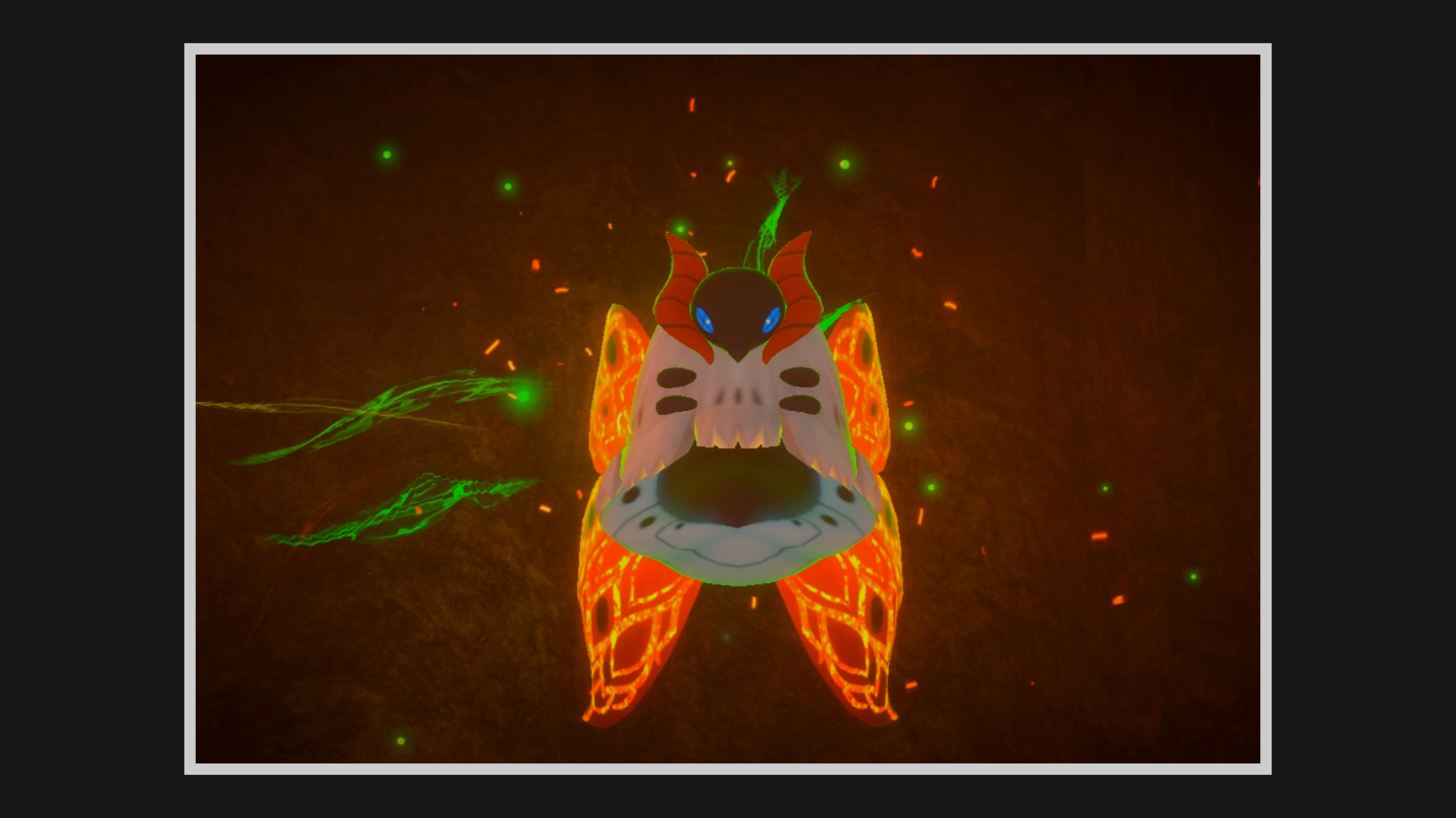 A Volcarona flies with a green glow around it