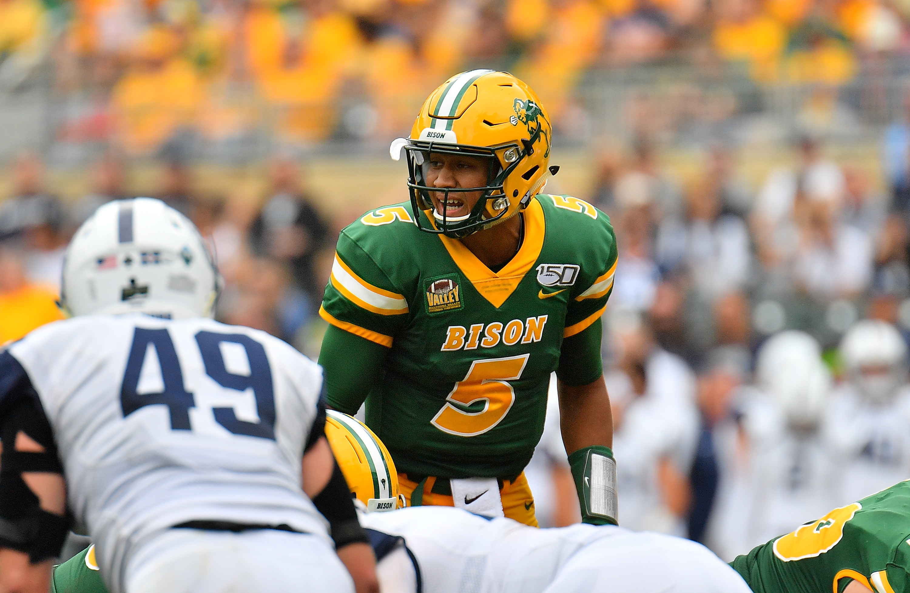 Quarterback Trey Lance #5 of the North Dakota State Bison calls a play during his team's game against the Butler Bulldogs at Target Field on August 31, 2019 in Minneapolis, Minnesota.