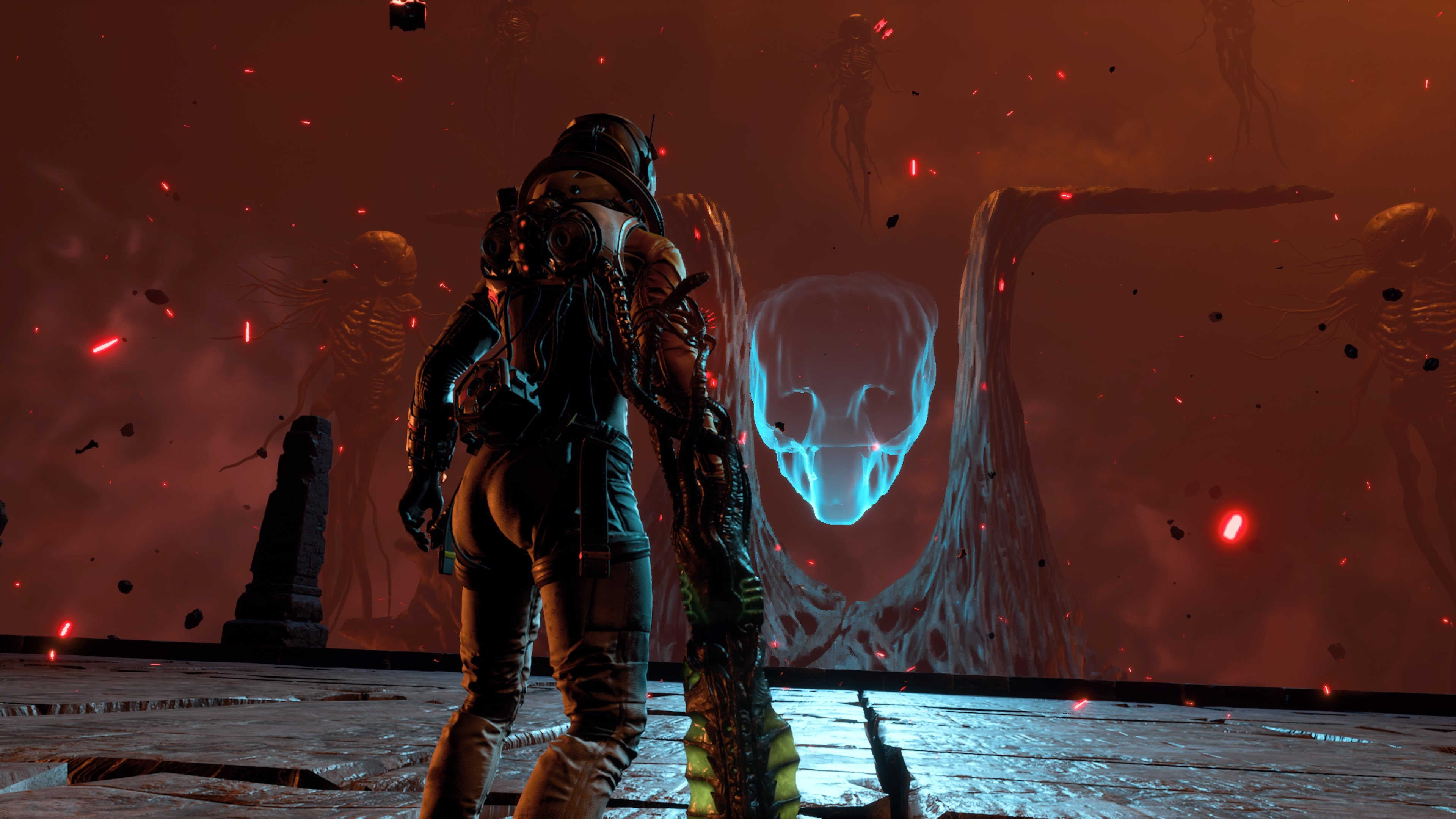 Selene stands in front of a ghostly enemy in Returnal
