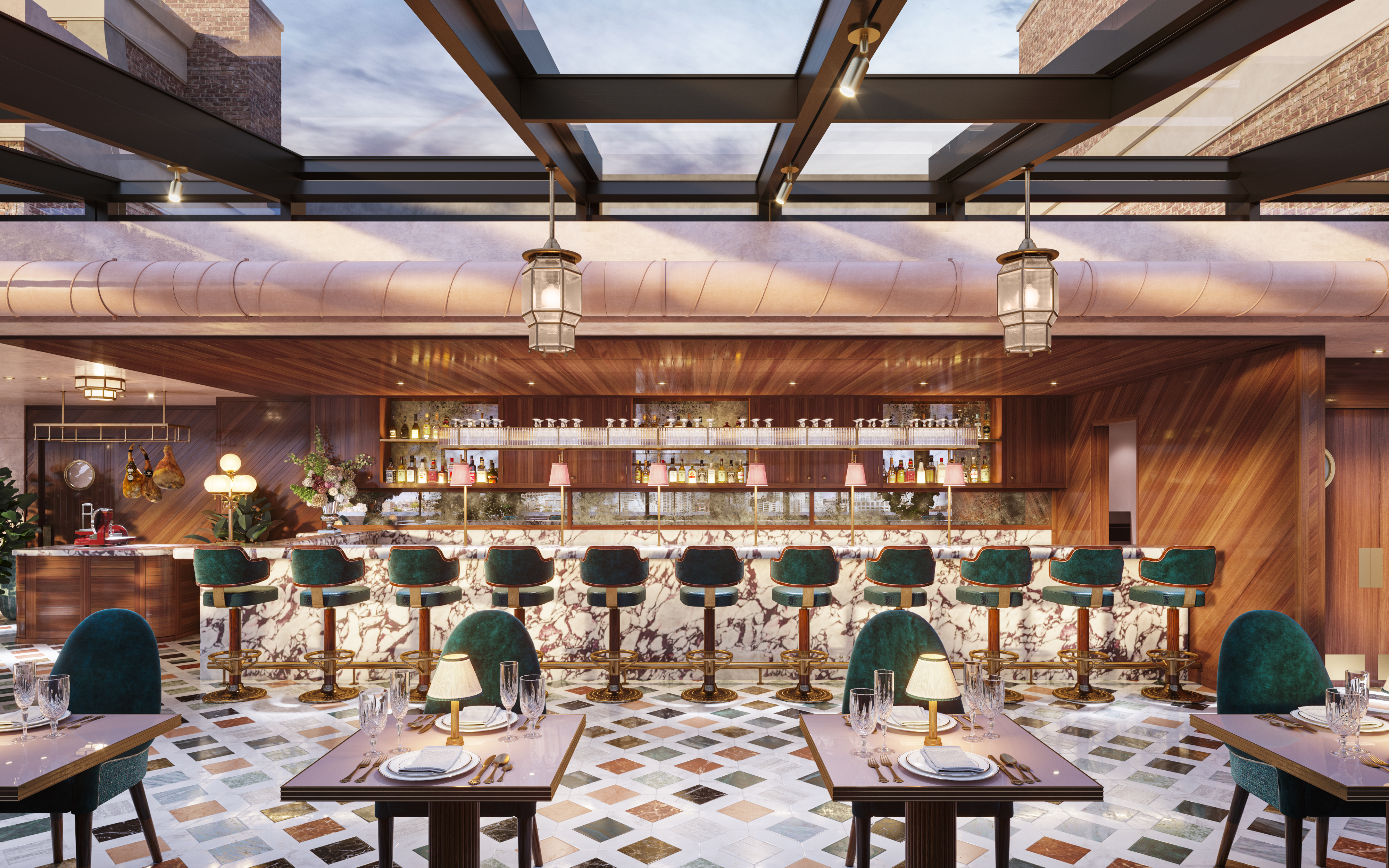 A rendering of a restaurant features a floor tiled with diamonds in shades of white, brown, and gray; plus turquoise chairs at two-top tables in the foreground and a bar in the background; and a glass ceiling revealing city views