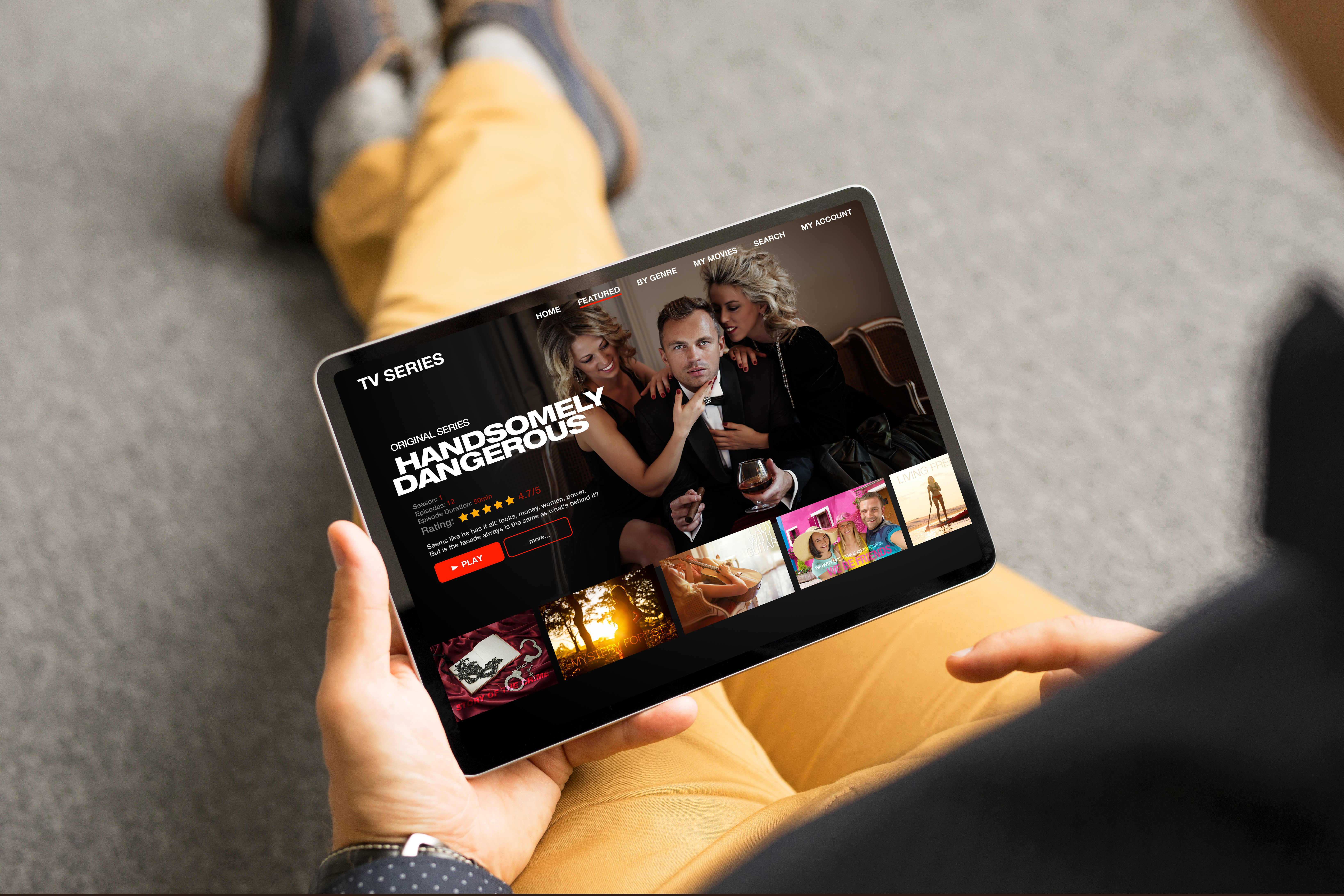A person opens up a streaming service platform on their iPad.