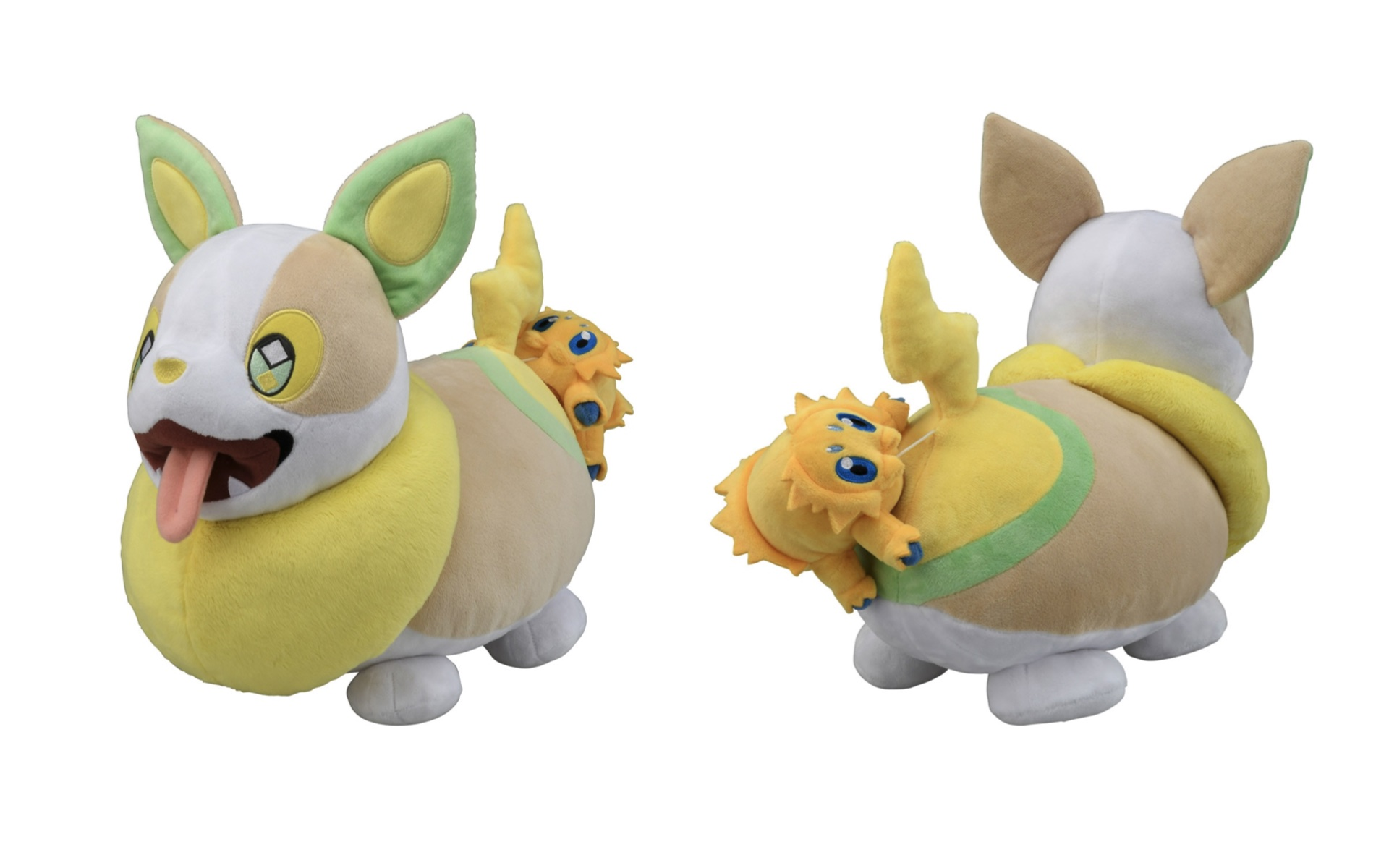 A plush toy of Joltik attached to Yamper's butt, seen from the front and the back