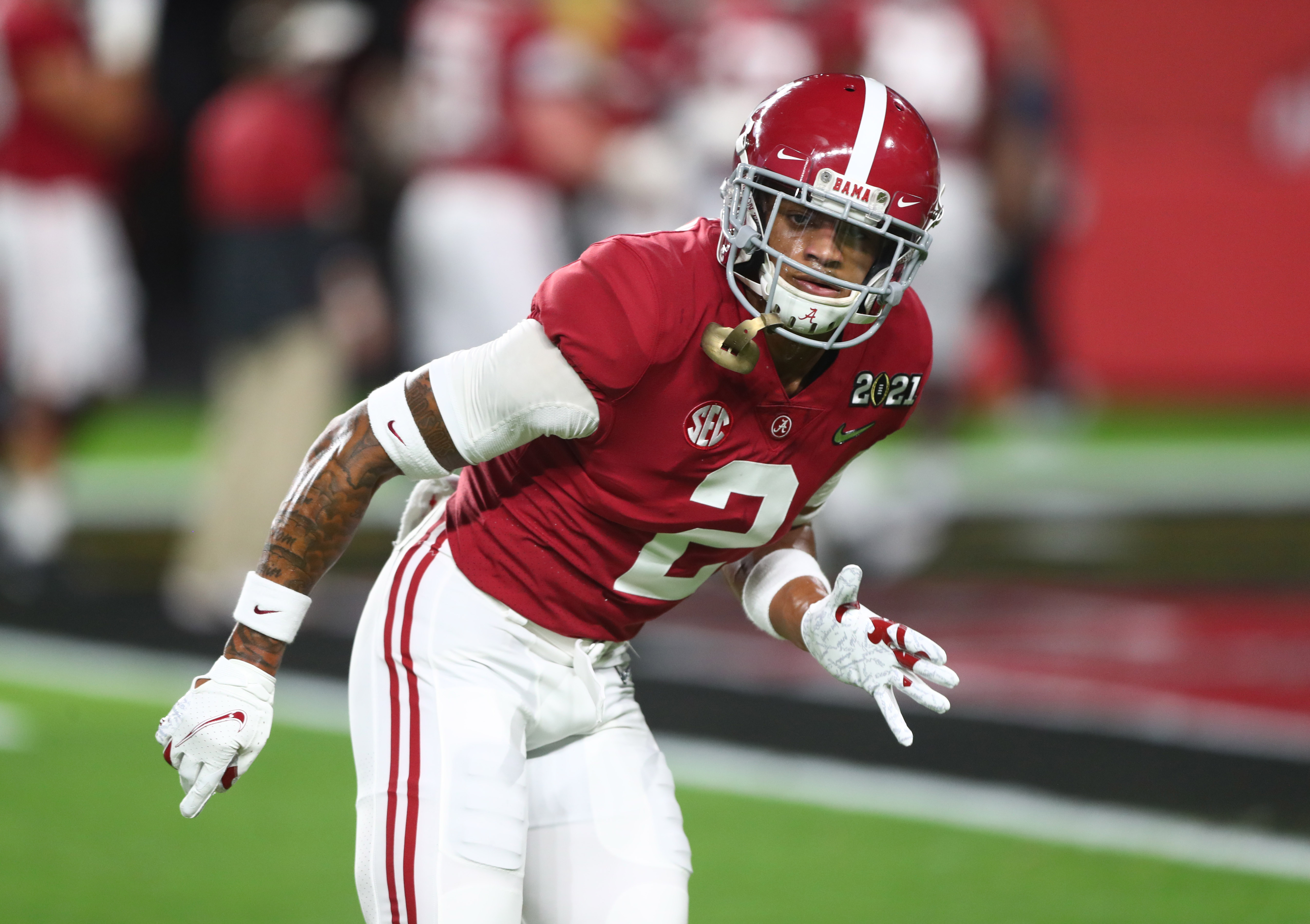 Alabama Crimson Tide defensive back Patrick Surtain II against the Ohio State Buckeyes in the 2021 College Football Playoff National Championship Game.