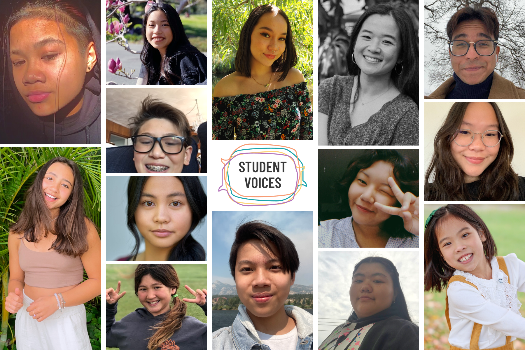 A grid of photos of AAPI students. In the middle, intersecting quote bubbles surround text that reads: Student Voices.