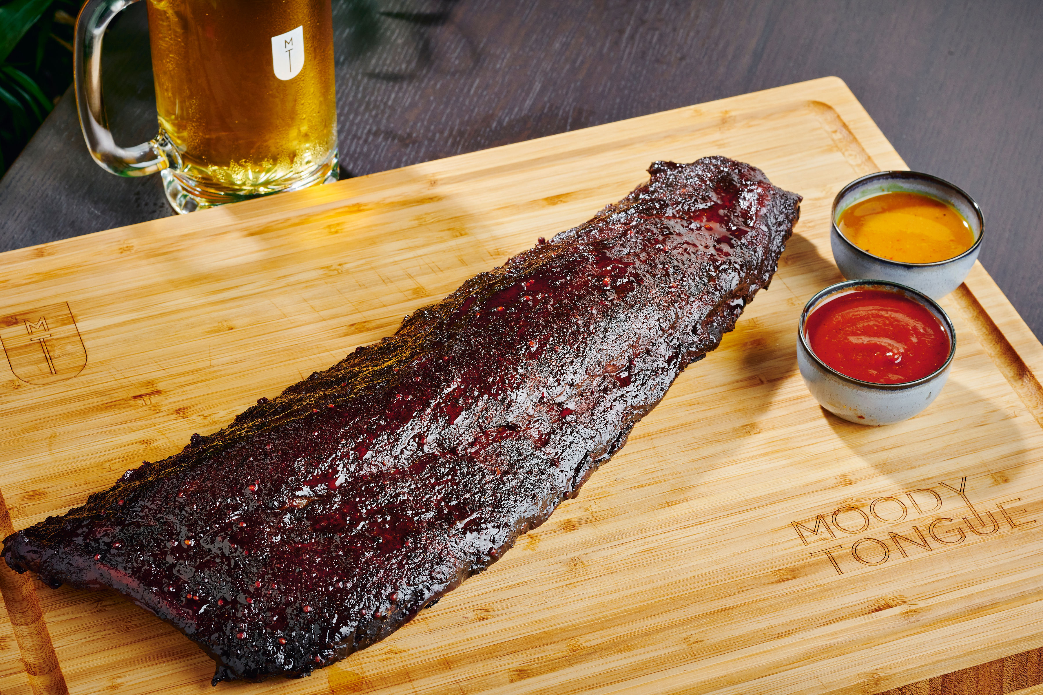 Pork ribs and Aperitif at newly-minted, Michelin star eatery Moody Tongue Brewing Company.