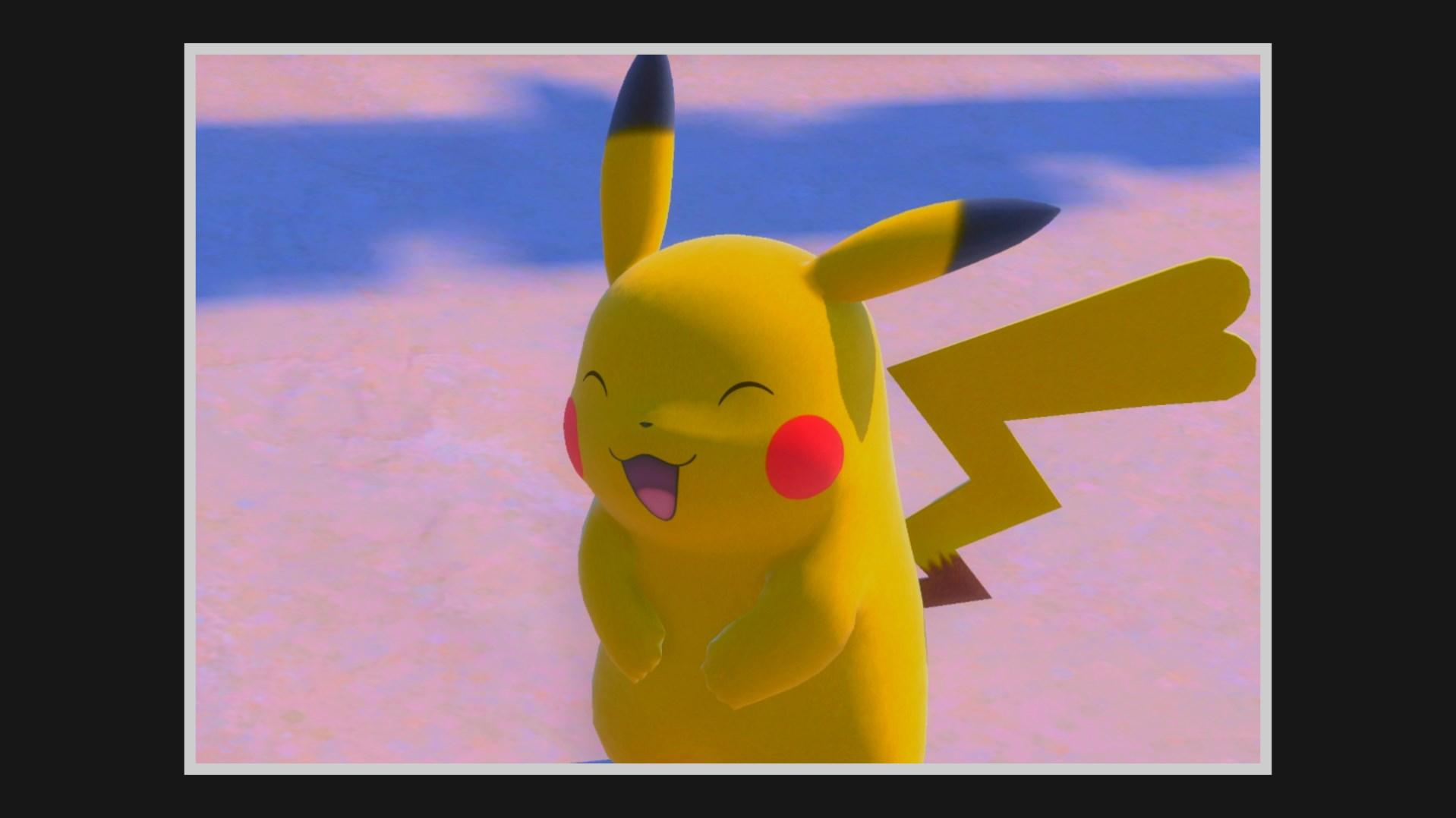 Pikachu smiles happily