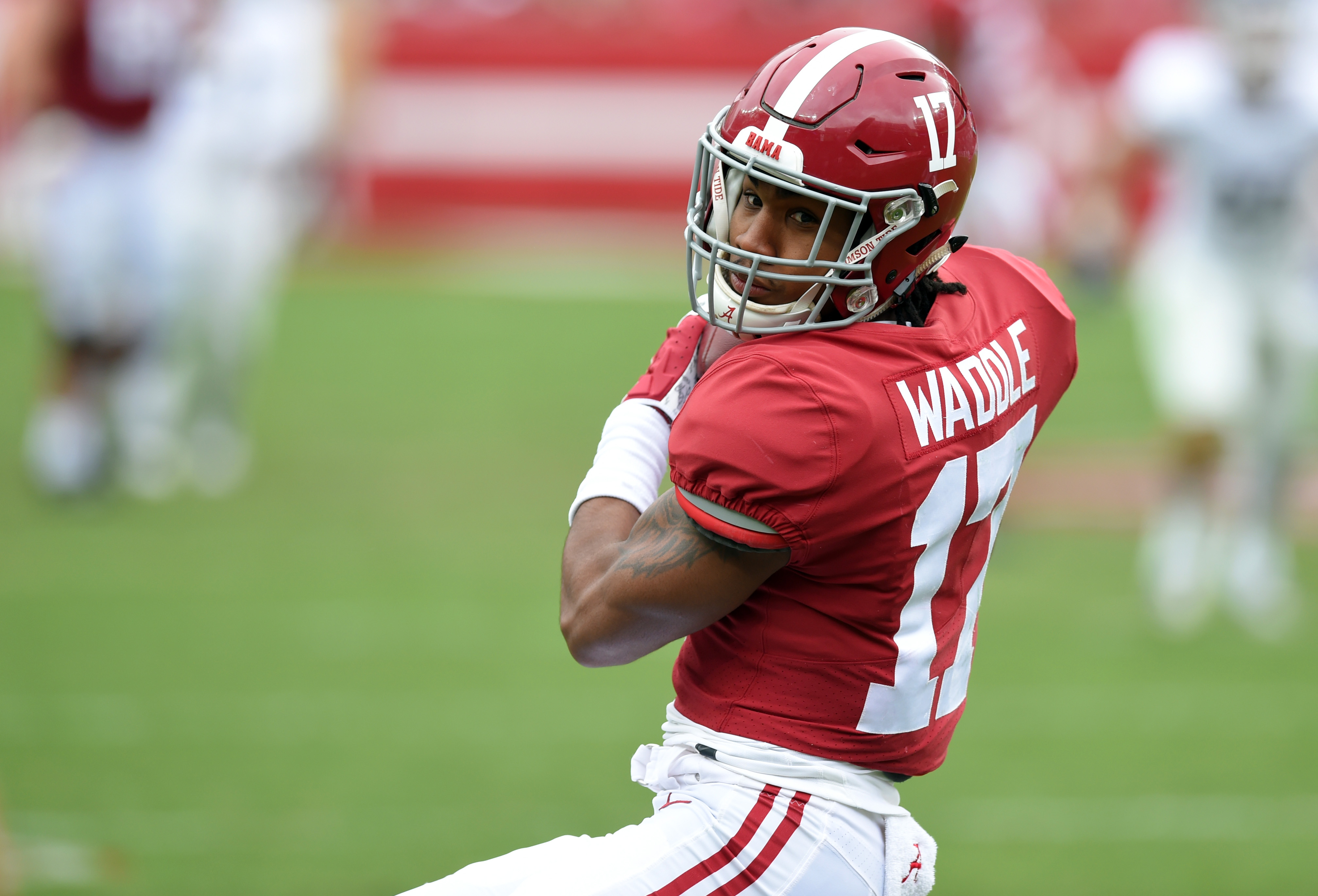 Alabama Crimson Tide wide receiver Jaylen Waddle pulls down a pass against the Western Carolina Catamounts during the second quarter at Bryant-Denny Stadium.