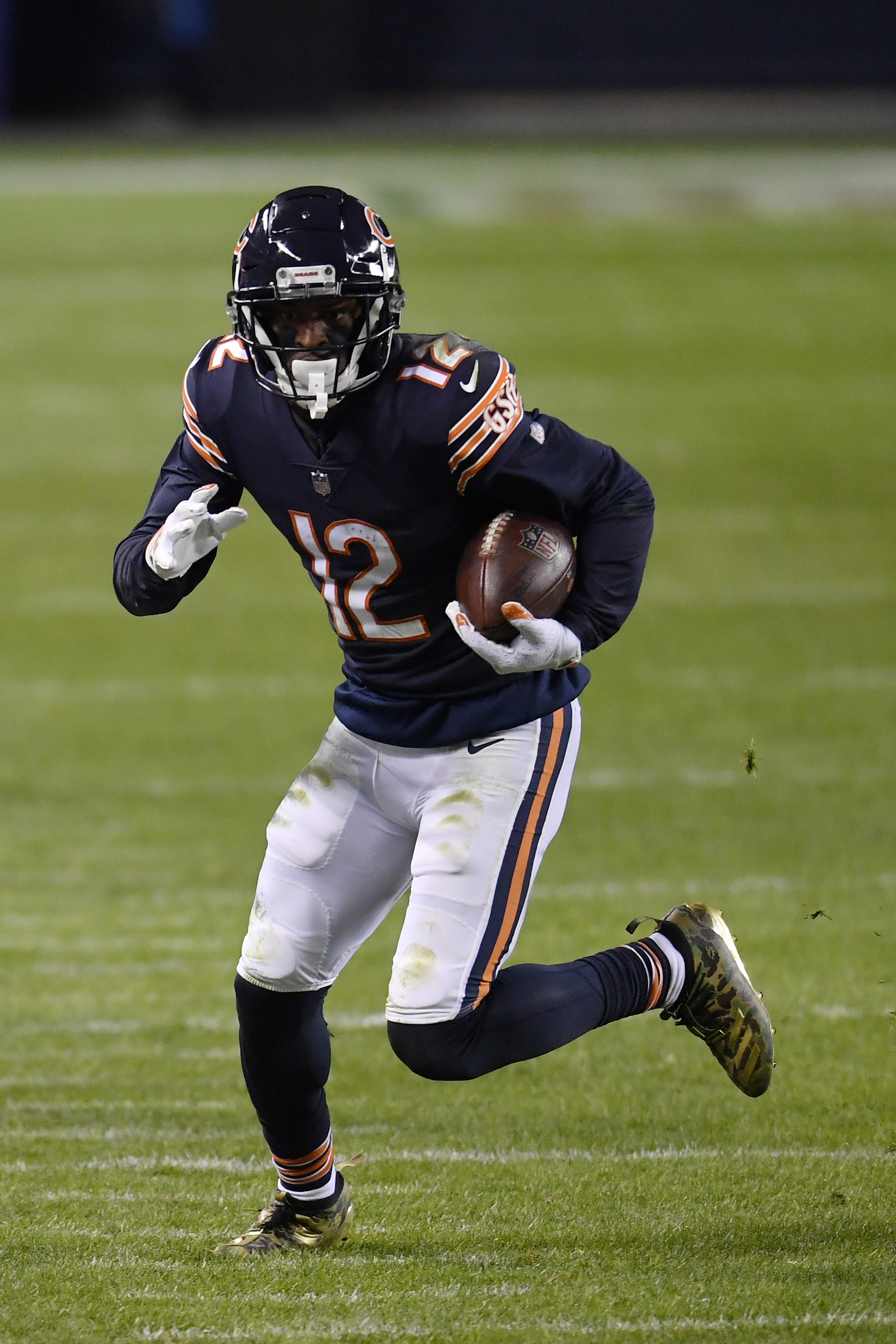 Allen Robinson #12 of the Chicago Bears against the New Orleans Saints at Soldier Field on November 01, 2020 in Chicago, Illinois.
