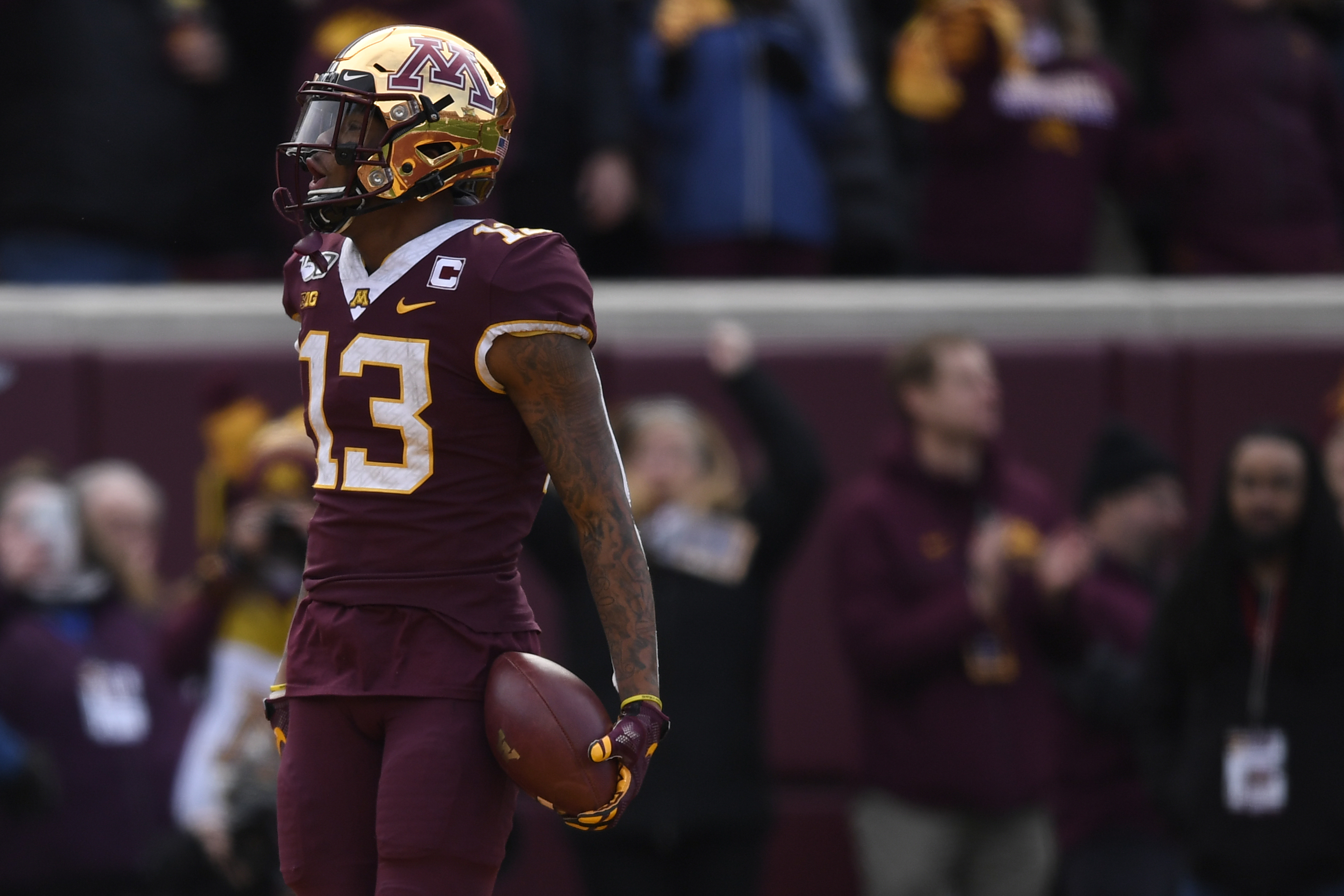 Wide receiver Rashod Bateman #13 of the Minnesota Golden Gophers scores a touchdown against the Penn State Nittany Lions during the first quarter at TCFBank Stadium on November 09, 2019 in Minneapolis, Minnesota.