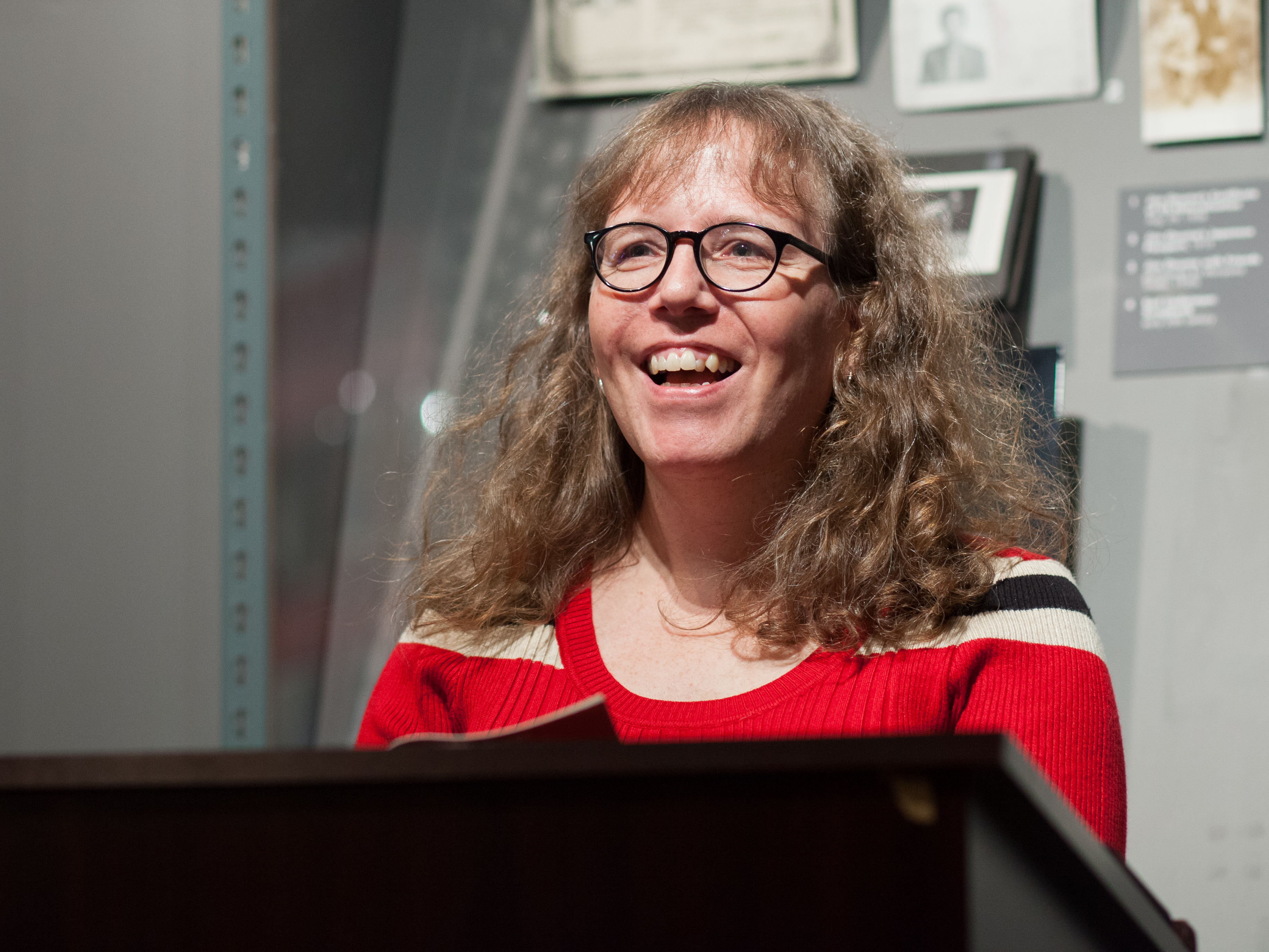 Julia Serano speaks at the GLBT History Museum in San Francisco for the launch of the second edition of her book, Whipping Girl in March 2016.