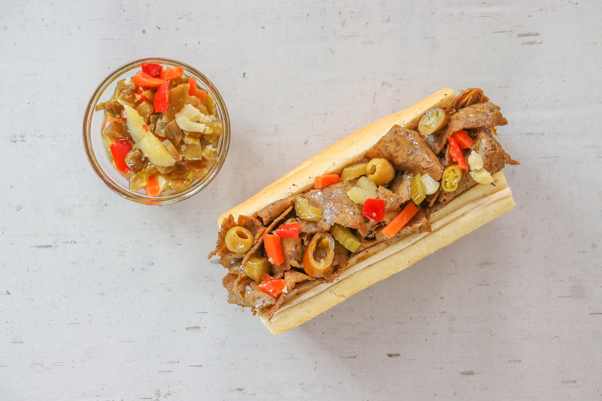 A vegan Italian beef sandwich