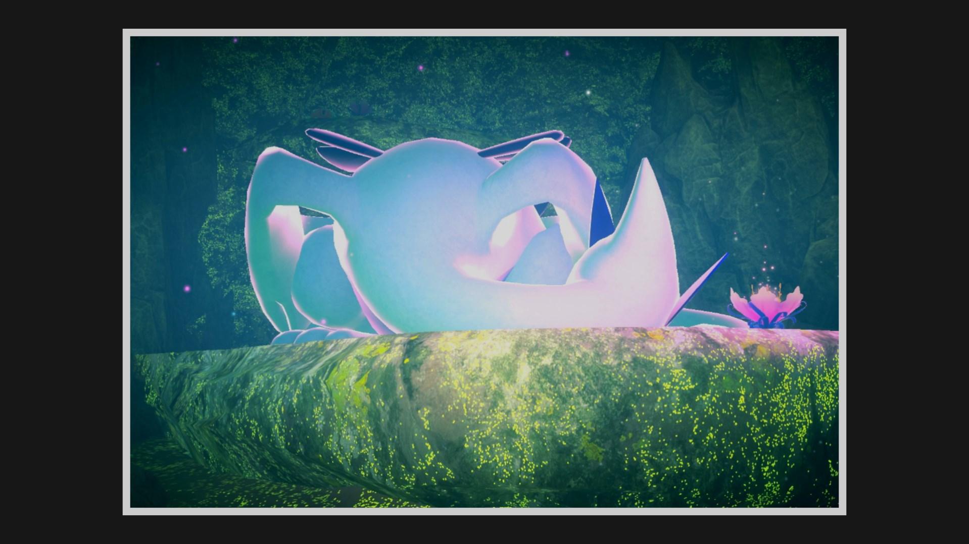 Lugia sleeps next to a glowing Illumina flower
