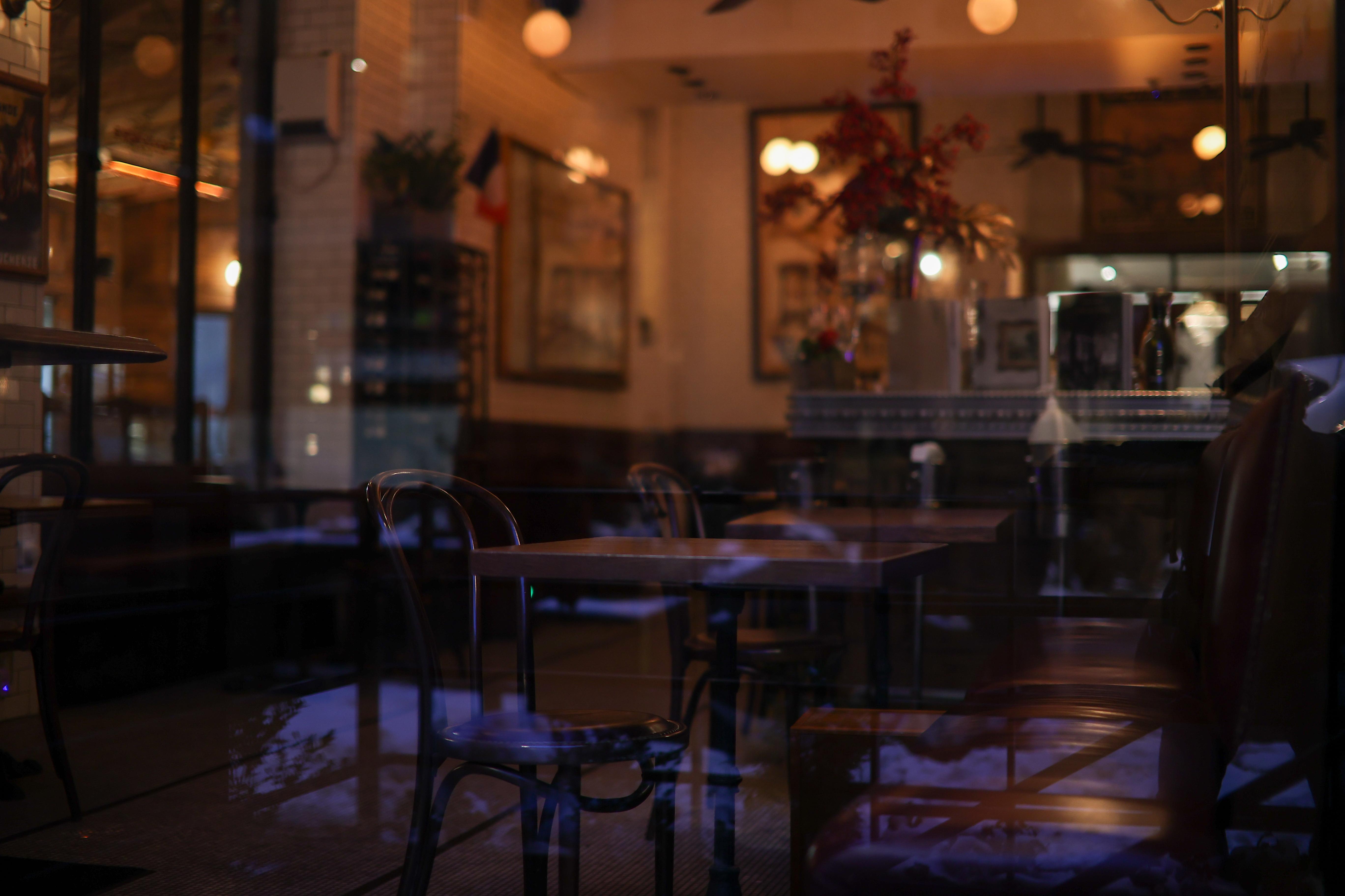 An empty dining room inside a restaurant