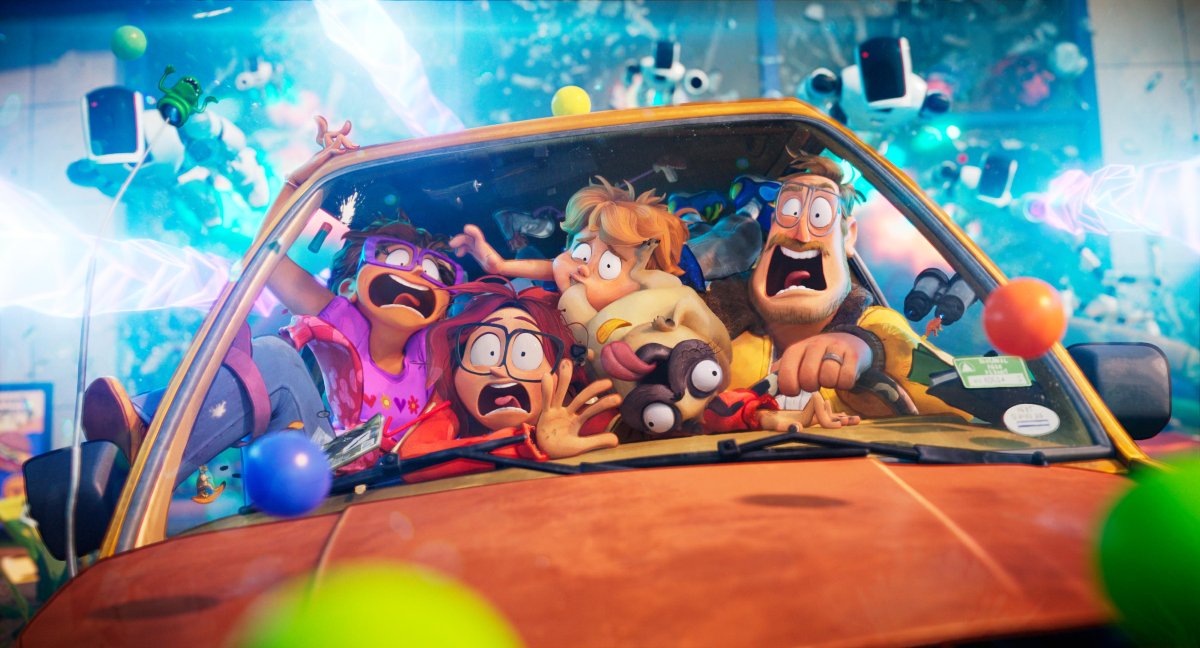 a family cramped into a tiny car