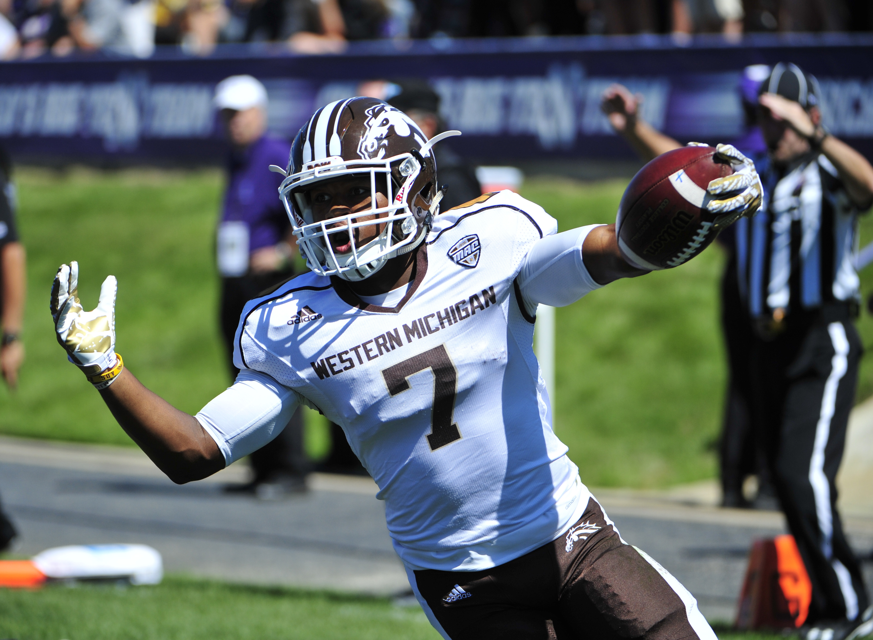 D'Wayne Eskridge #7 of the Western Michigan Broncos reacts after scoring a touchdown against the Northwestern Wildcats during the second half on September 3, 2016 at Ryan Field in Evanston, Illinois. the Western Michigan Broncos won 22-21.