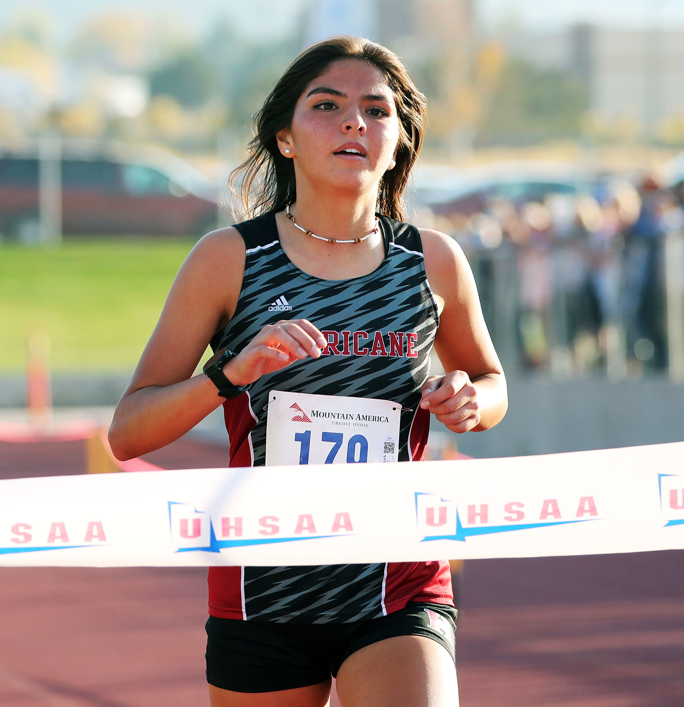 Caila Odekirk of Hurricane High School wins the 4A state girls high school cross-country championship in Cedar City on Wednesday, Oct. 21, 2020.