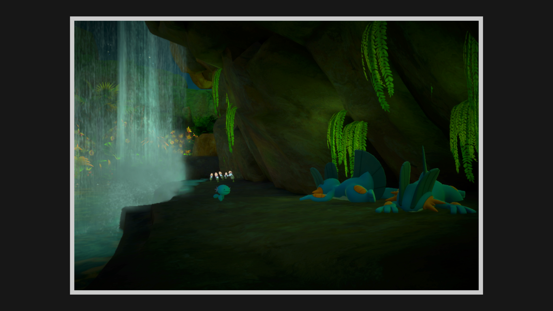 A Wooper, some Morelull, and two sleeping Swampert behind a waterfall