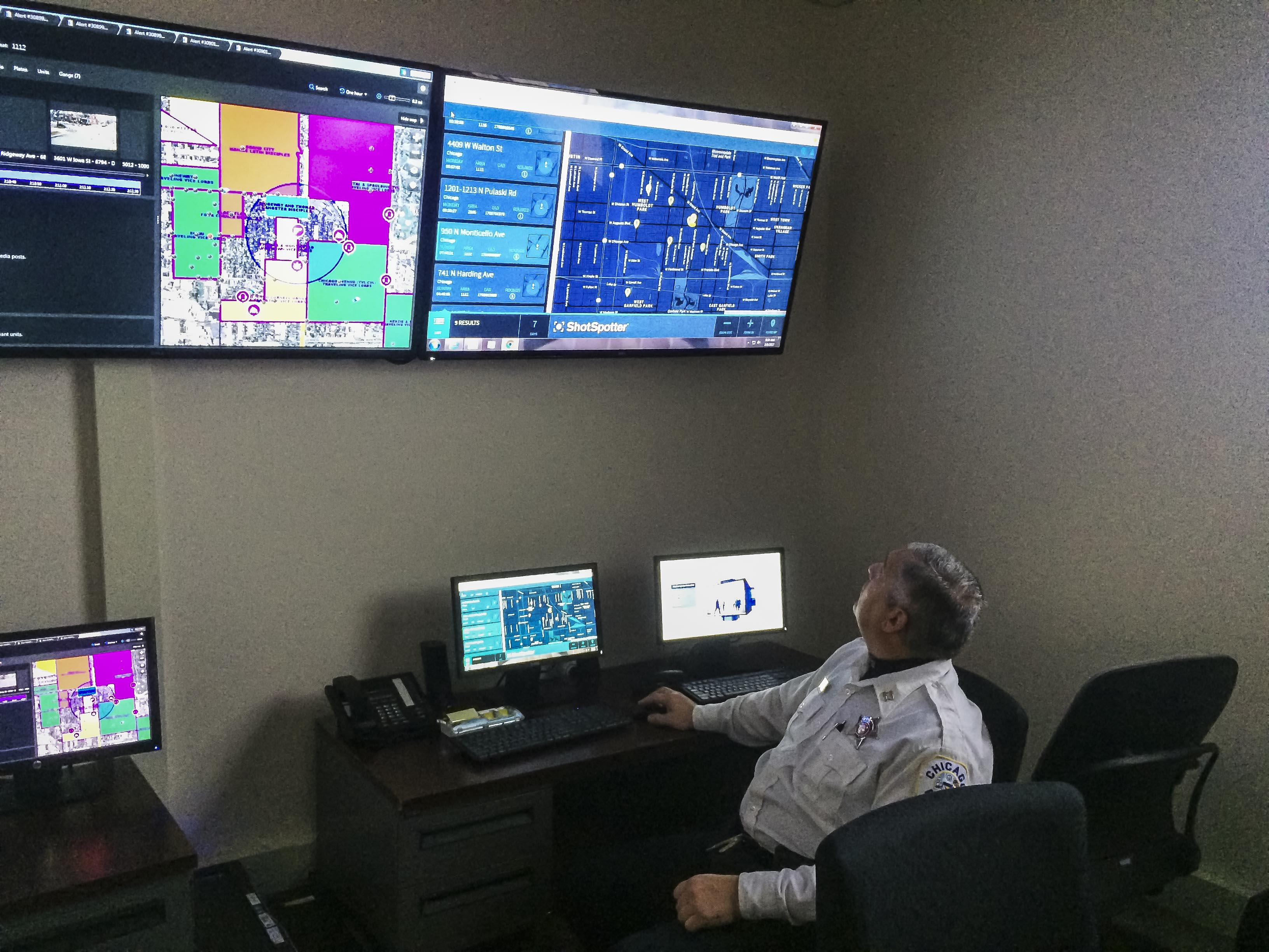 Chicago police Capt. Steven Sesso operates a ShotSpotter gunshot-detection system in the 11th District.
