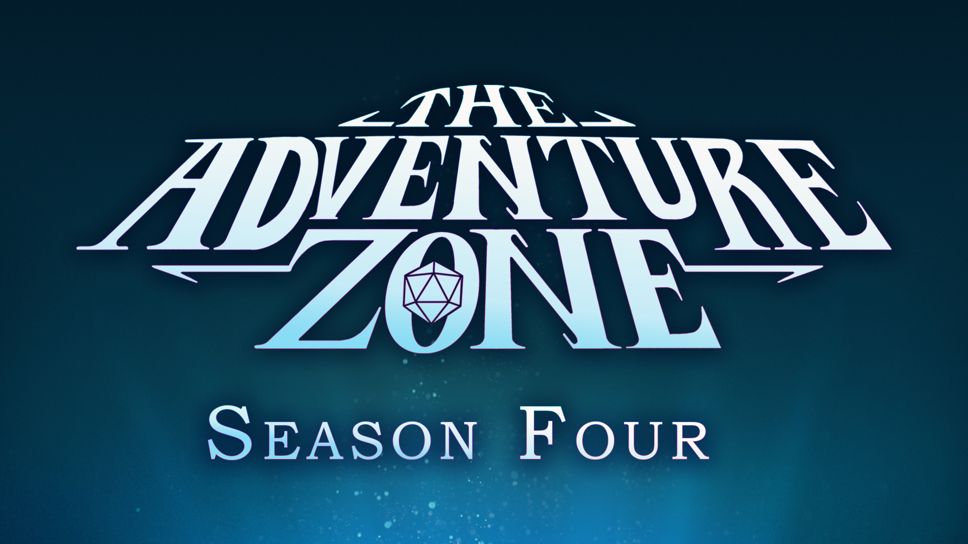 """The Adventure Zone logo is shown outlined in purple. The words """"Season four"""" are below it, also outlined in purple. Everything is set on an underwater background, with a light shining up from below."""
