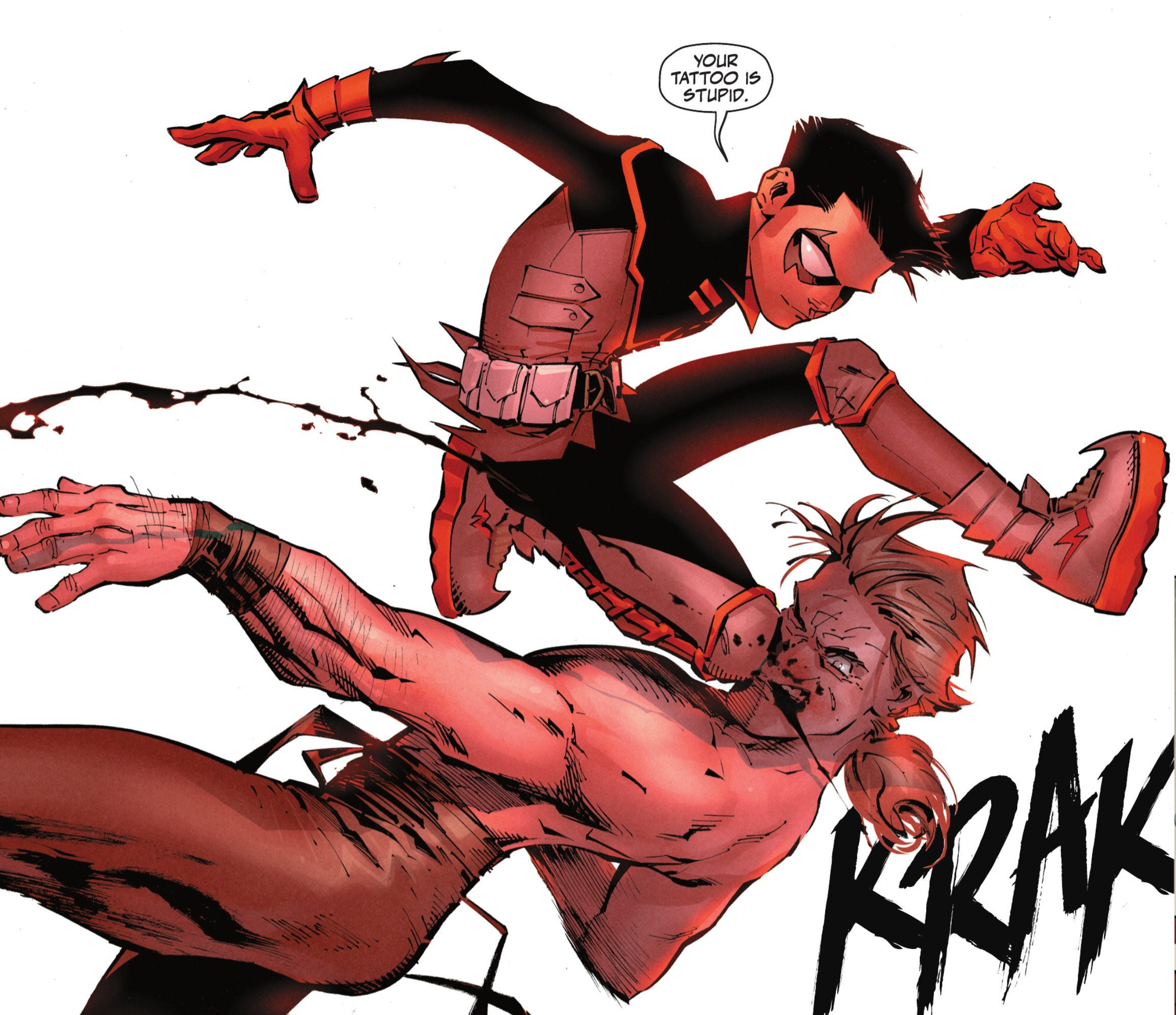 """""""Your tattoo is stupid,"""" quips Robin/Damian Wayne as he flying kicks King Snake in the face in Robin #1, DC Comics (2021)."""