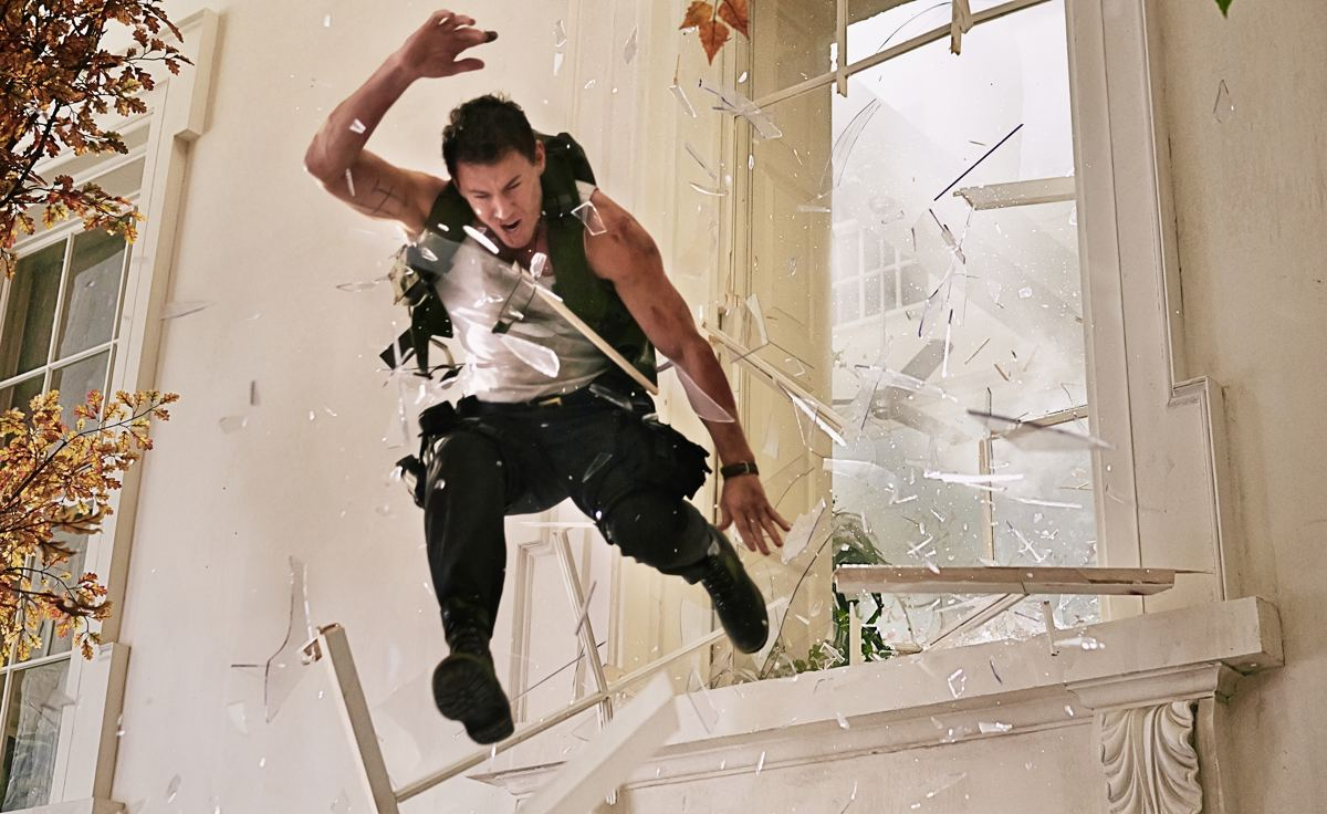 Channing Tatum leaps through a window in White House Down