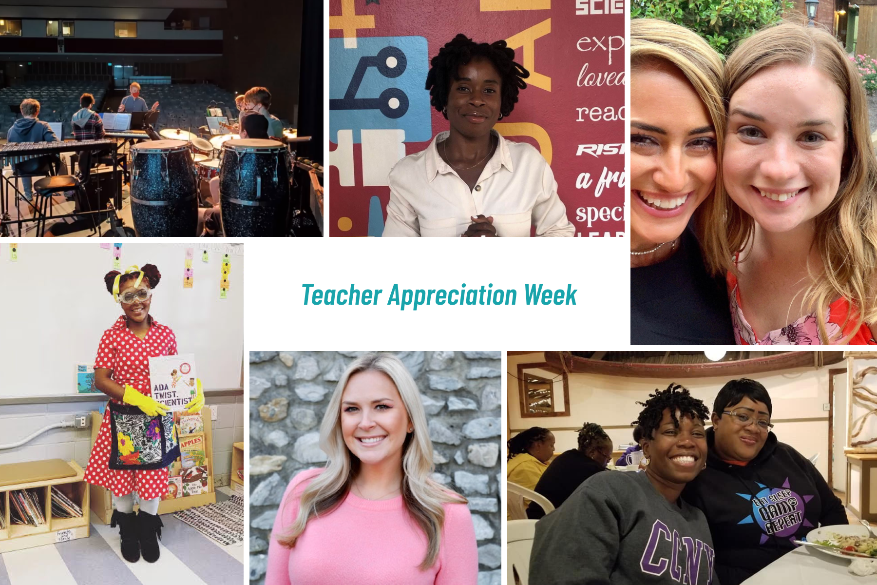 A grid of photos featuring six teachers being celebrated for Teacher Appreciation Week.