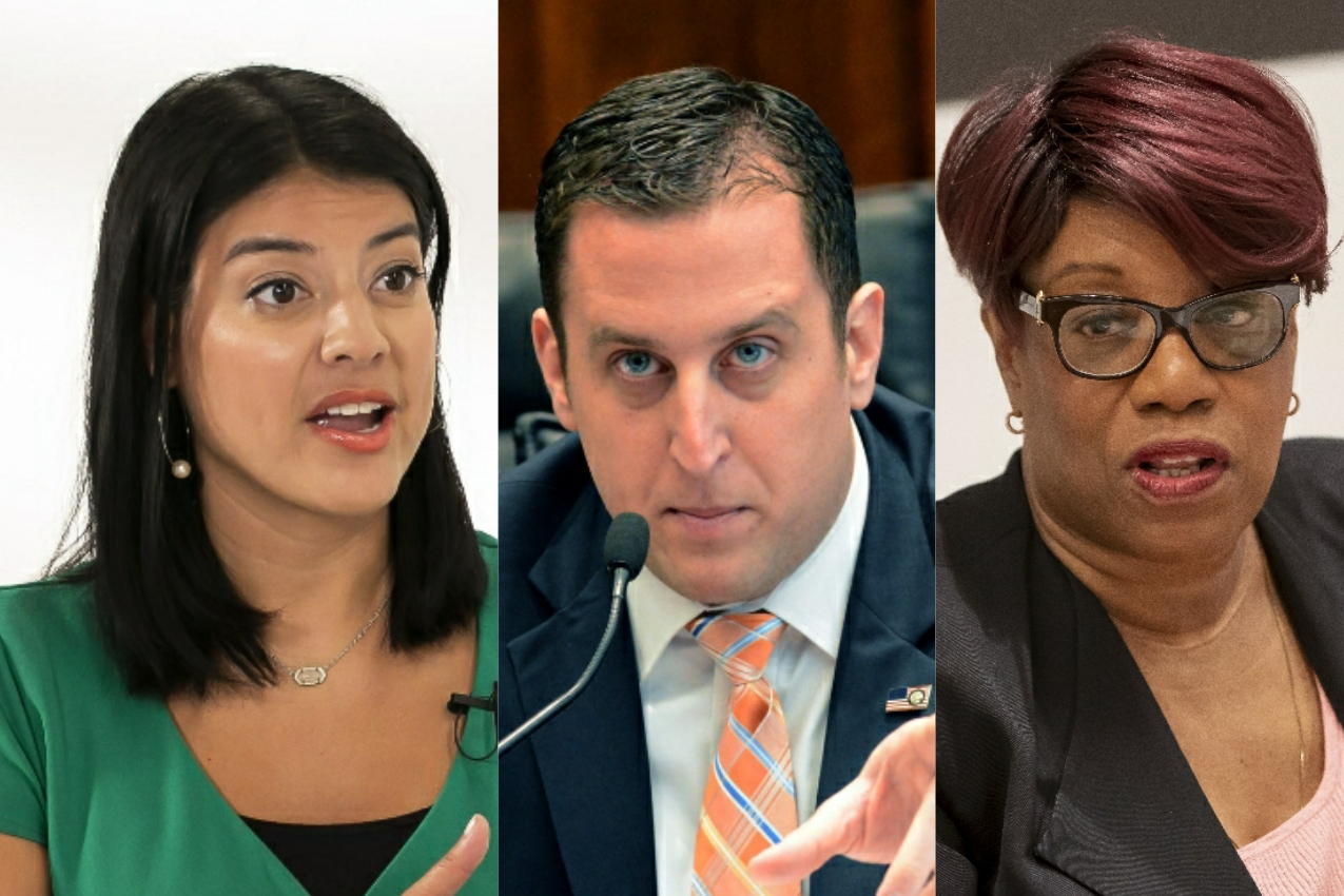 City Clerk Anna Valencia, left; State Sen. Michael Hastings, center; Ald. Pat Dowell (3rd), right.