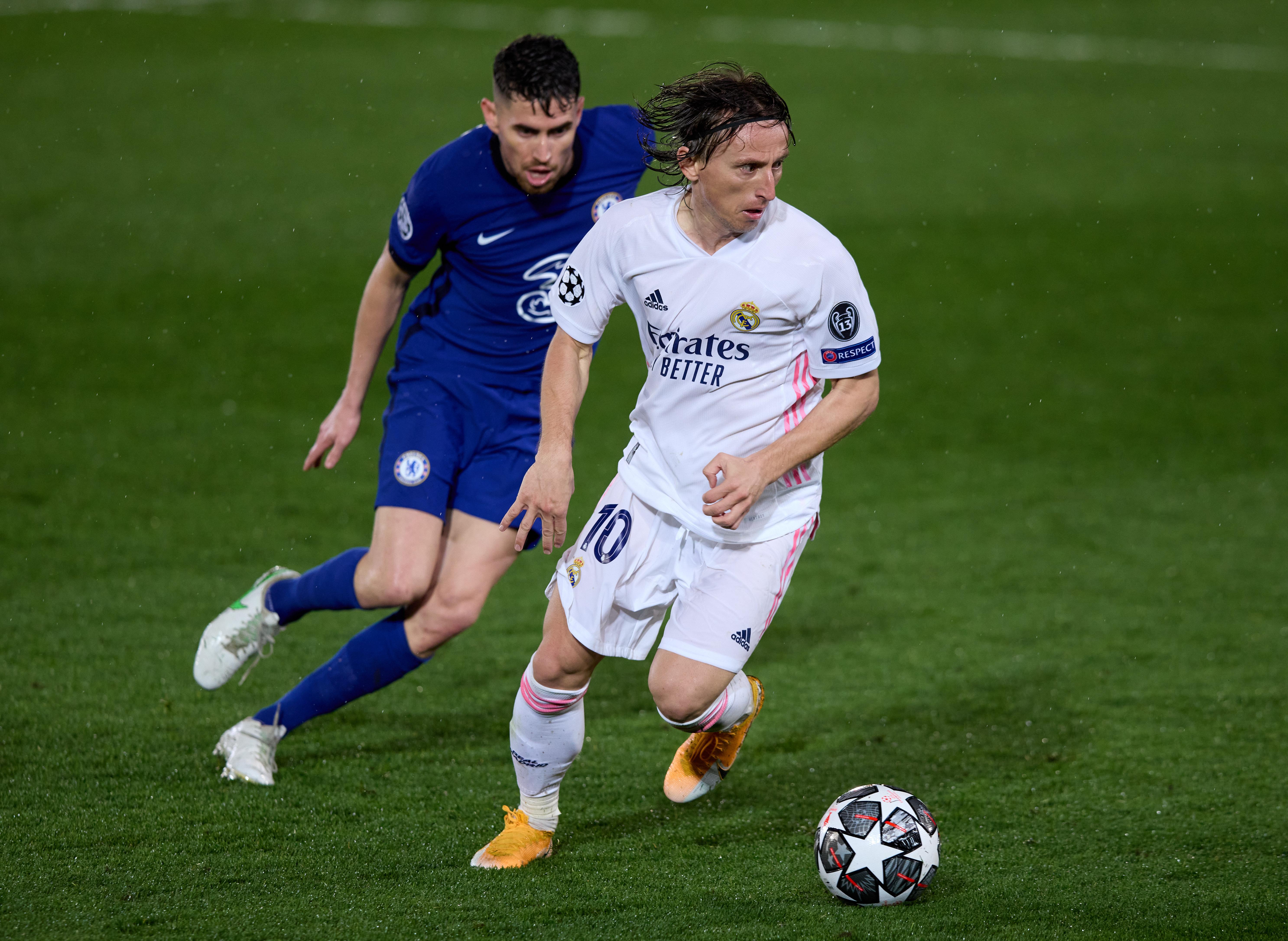 Luka Modric is challenged by Jorginho - Real Madrid v Chelsea - UEFA Champions League Semifinal