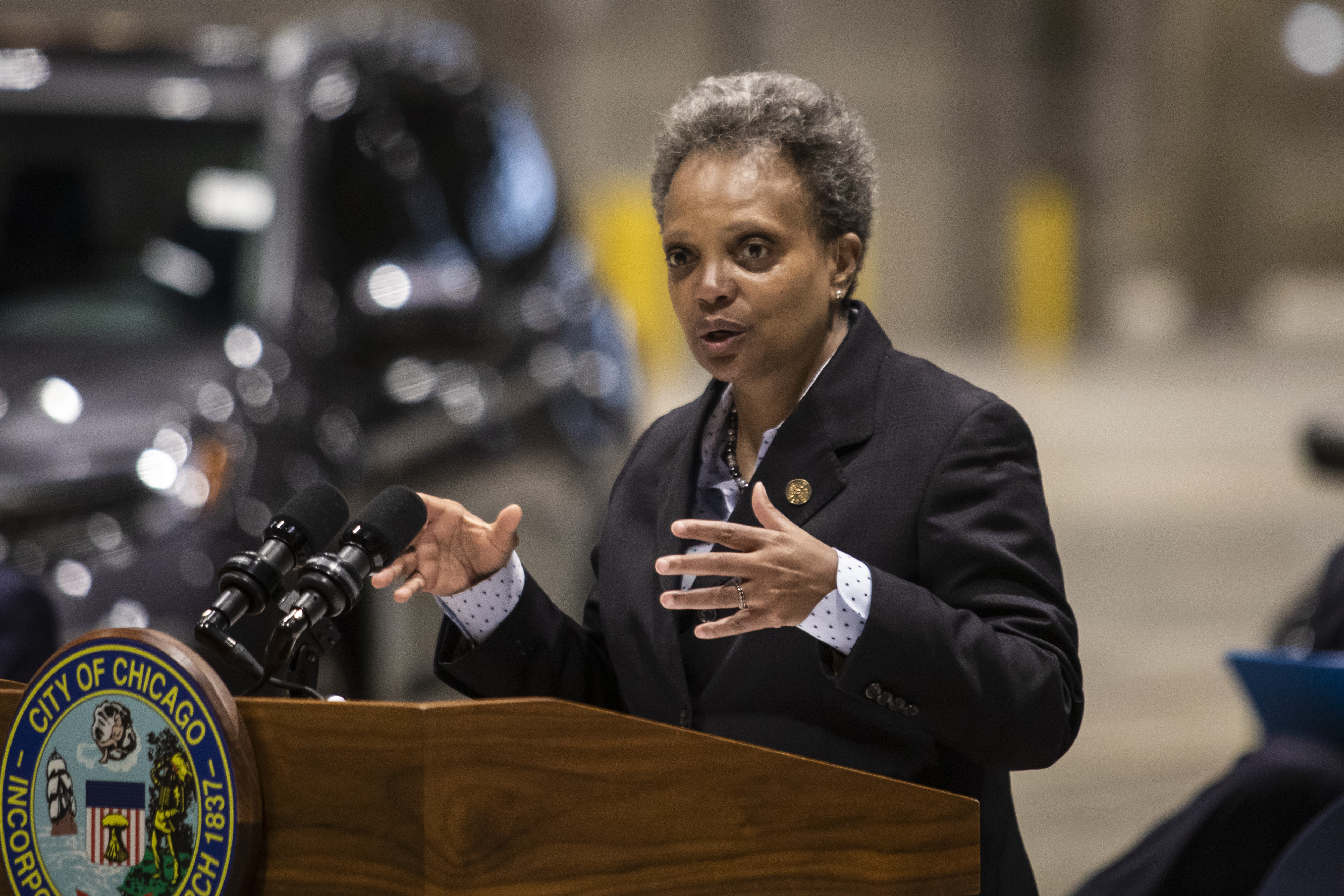 Mayor Lori Lightfoot announces the Chicago Auto Show will take place in July during a news conference on Chicago's reopening efforts at McCormick Place on Tuesday morning, May 4, 2021.
