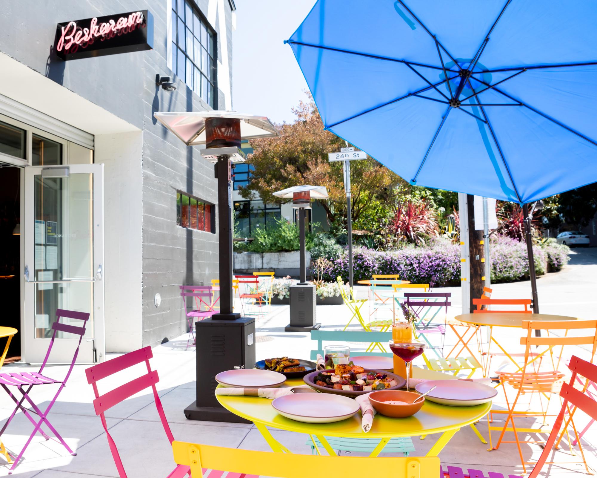 Sidewalk dining at Besharam