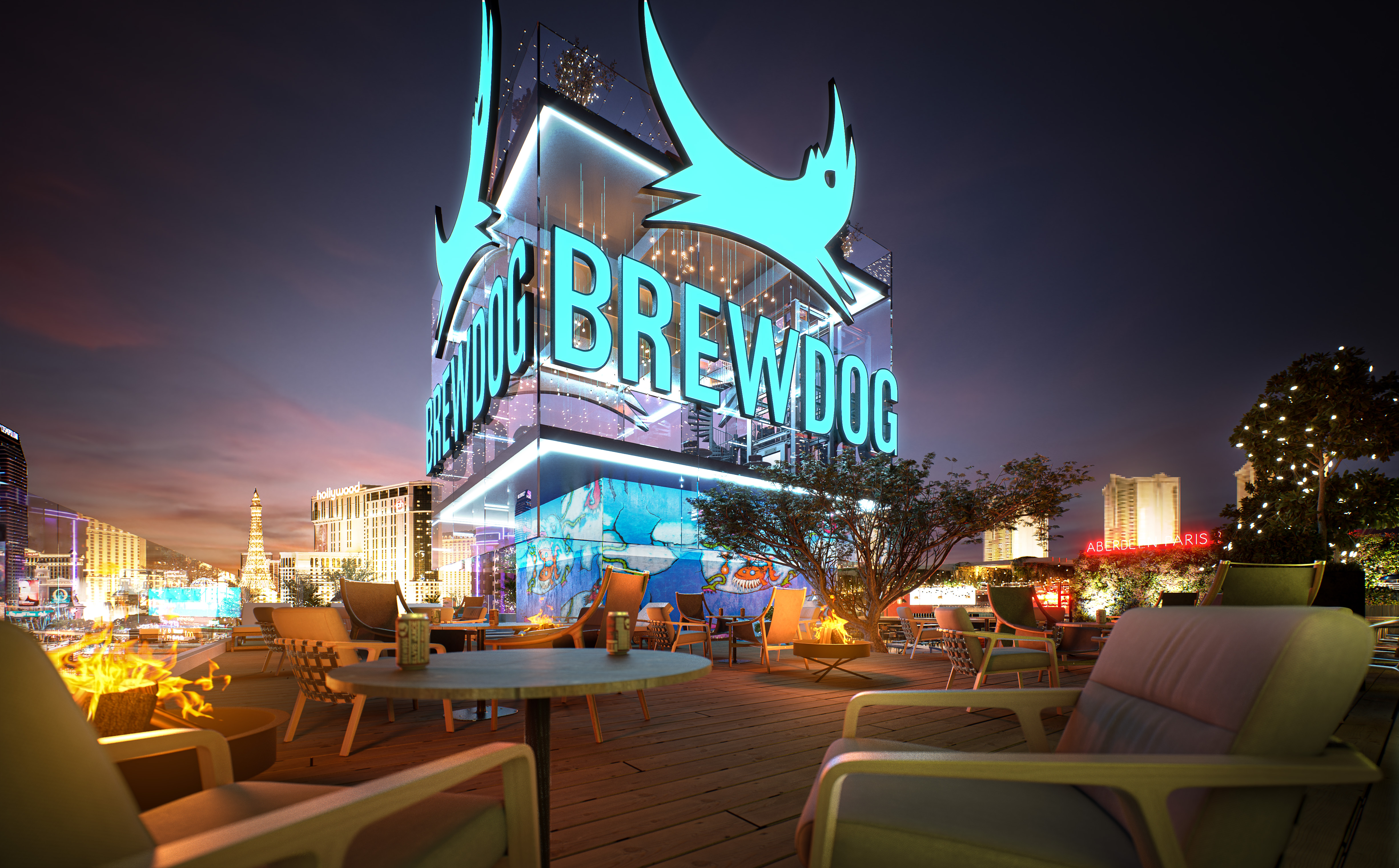 A rendering of the rooftop bar