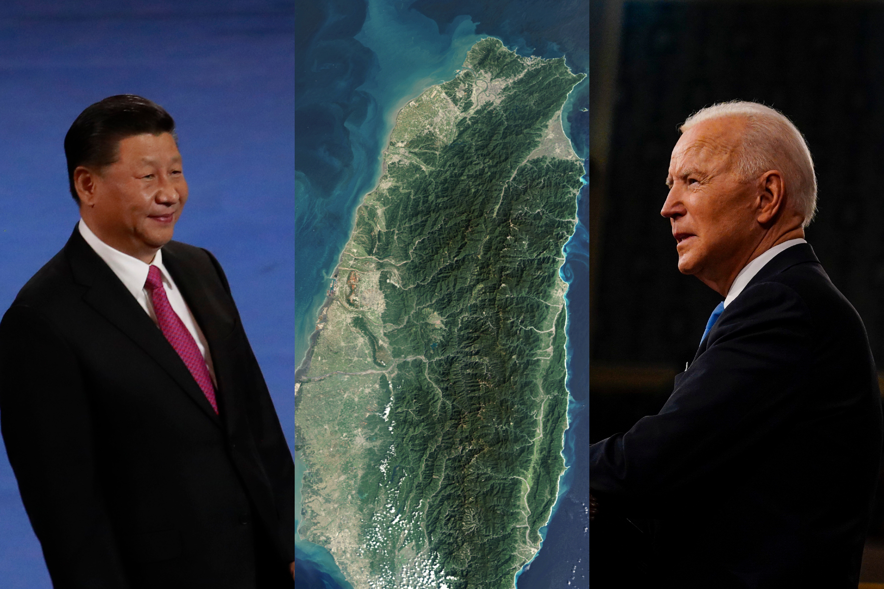 Chinese President Xi Jinping, a satellite image of Taiwan, and US President Joe Biden.