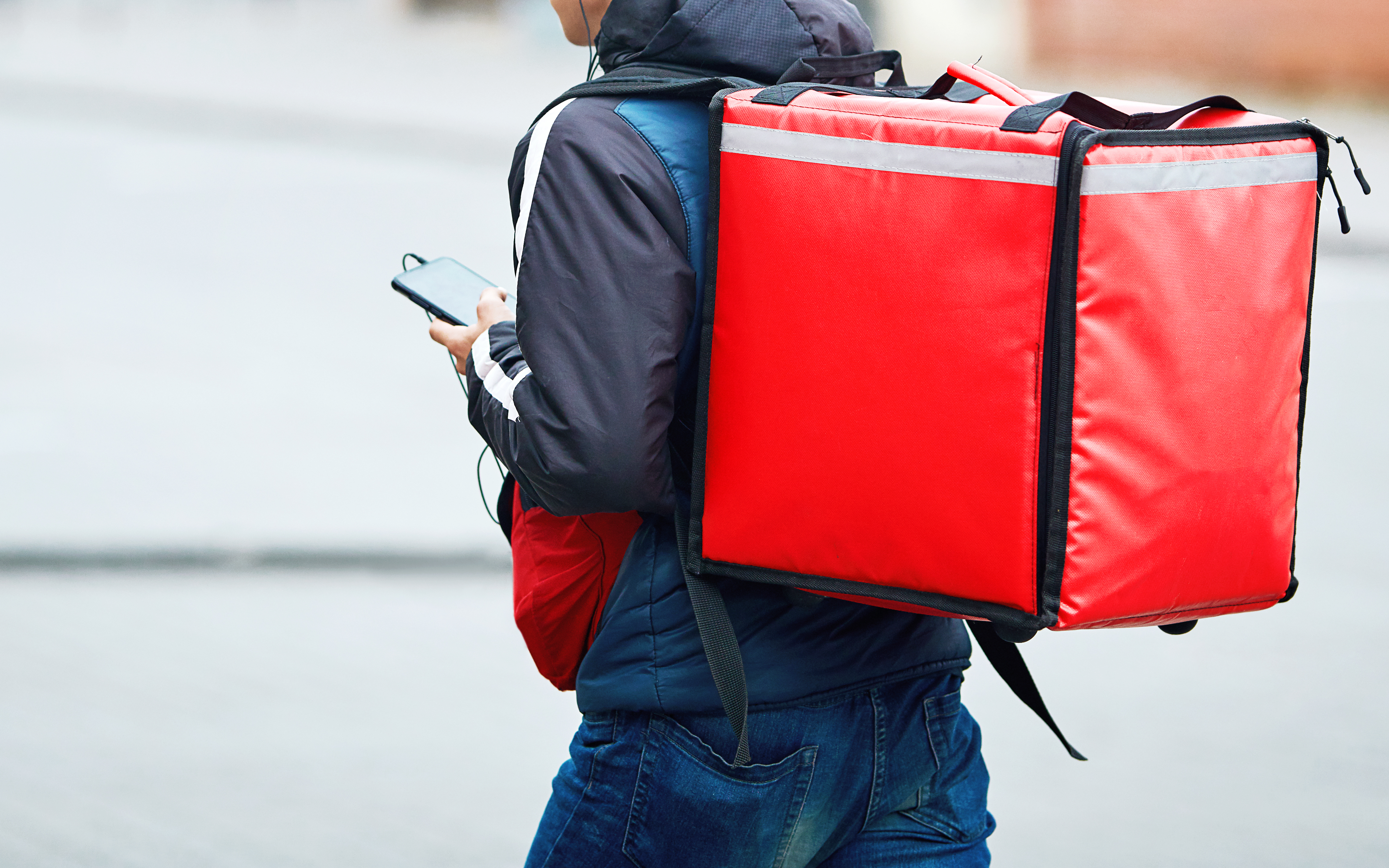 A delivery person stands facing away from the camera, holding a phone and wearing a big red padded delivery backpack.