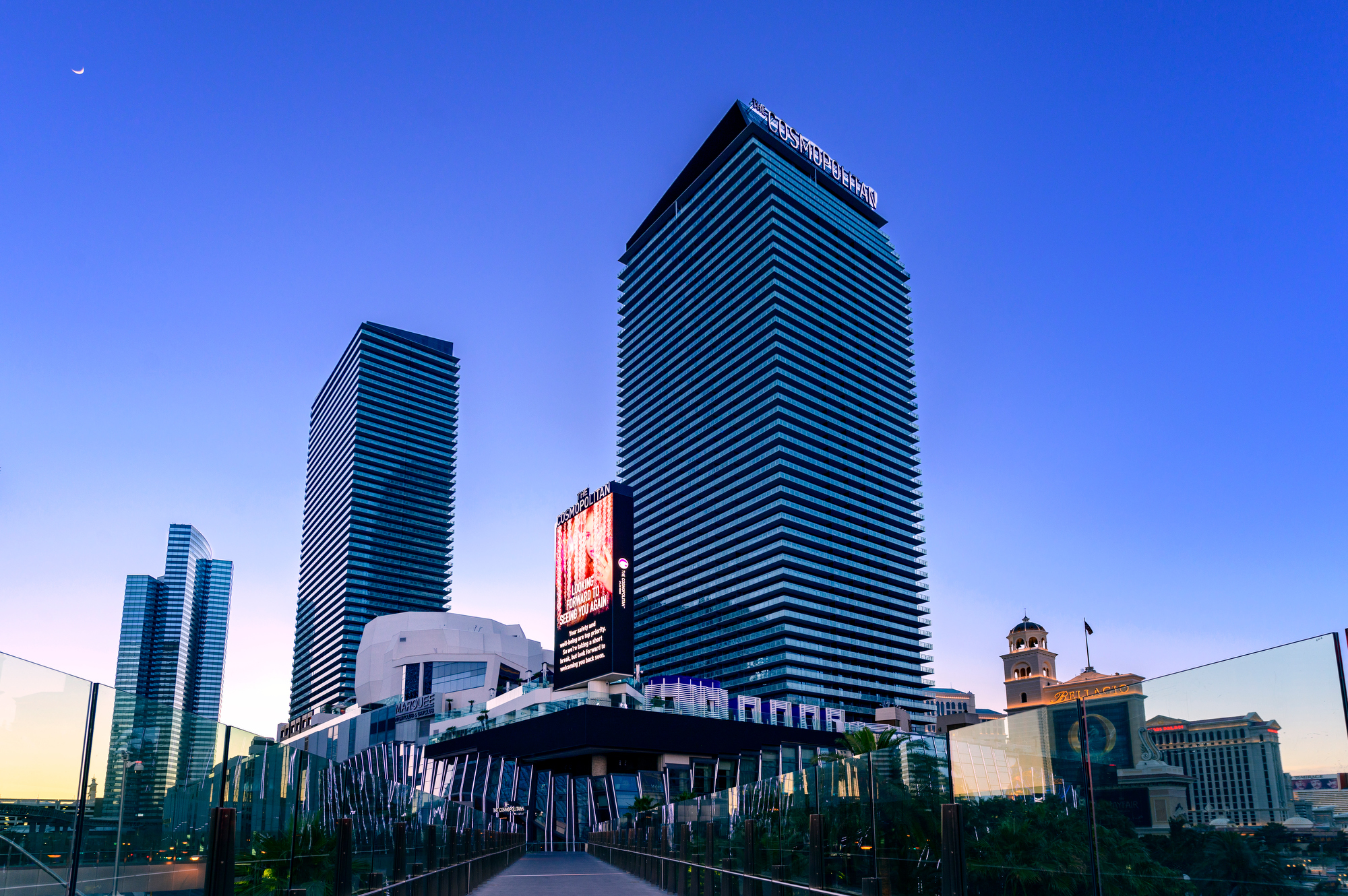 The exterior of a casino at dusk