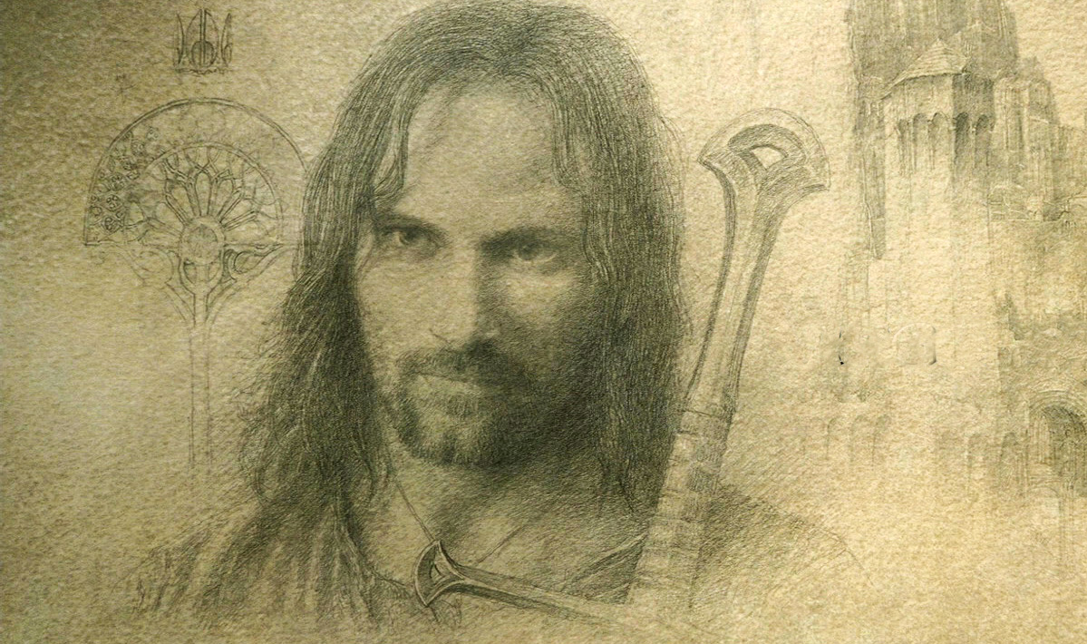 Sketch of Viggo Mortensen from Lord of the Rings: Return of the Kings end credits