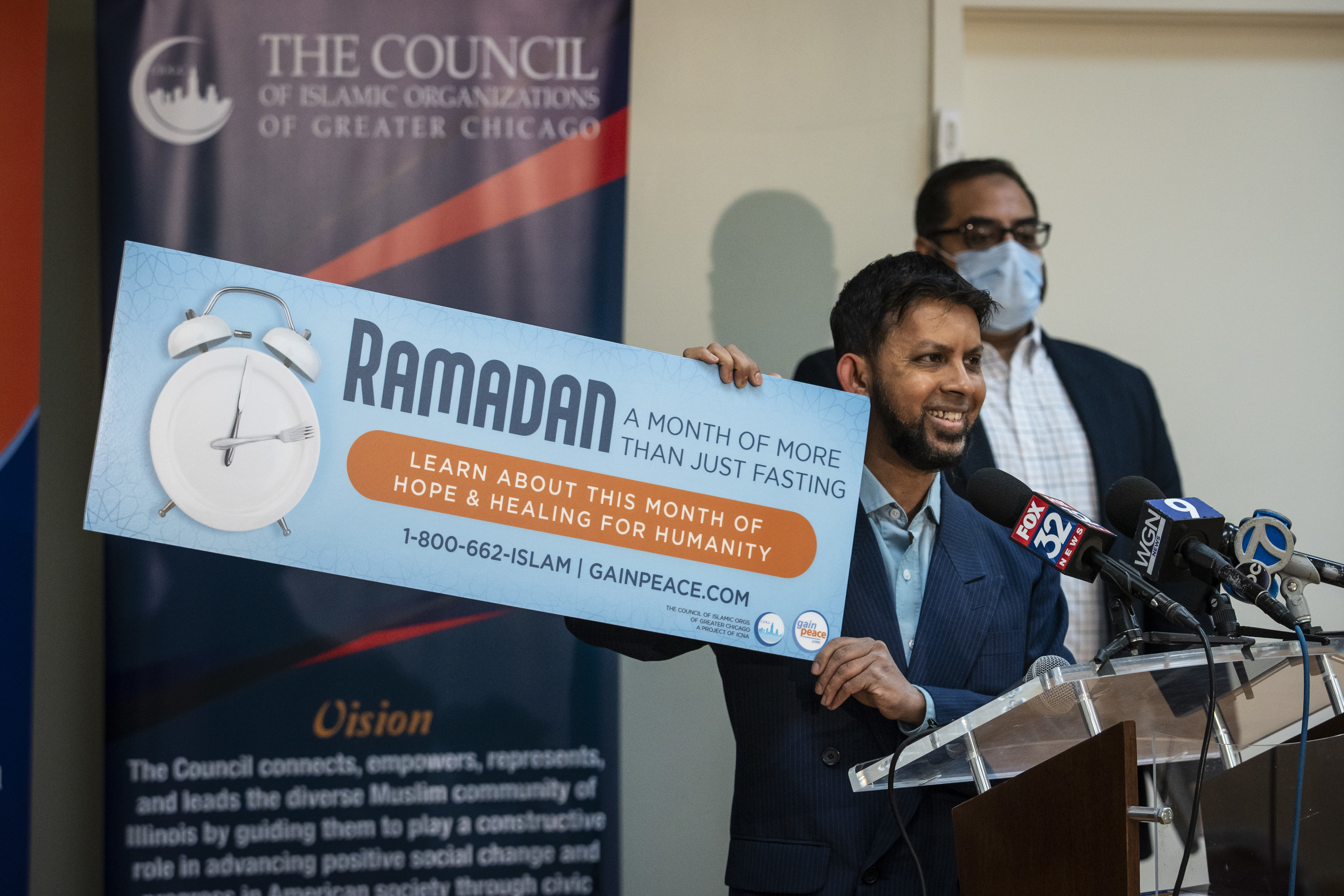 Sabeel Ahmed, executive director of the GainPeace Project, announces a billboard on I-294 near O'Hare International Airport and a 4-week campaign with the Council of Islamic Organizations of Greater Chicago, designed to educate others about Ramadan, during a news conference Wednesday morning at CIOGC headquarters in the Loop.