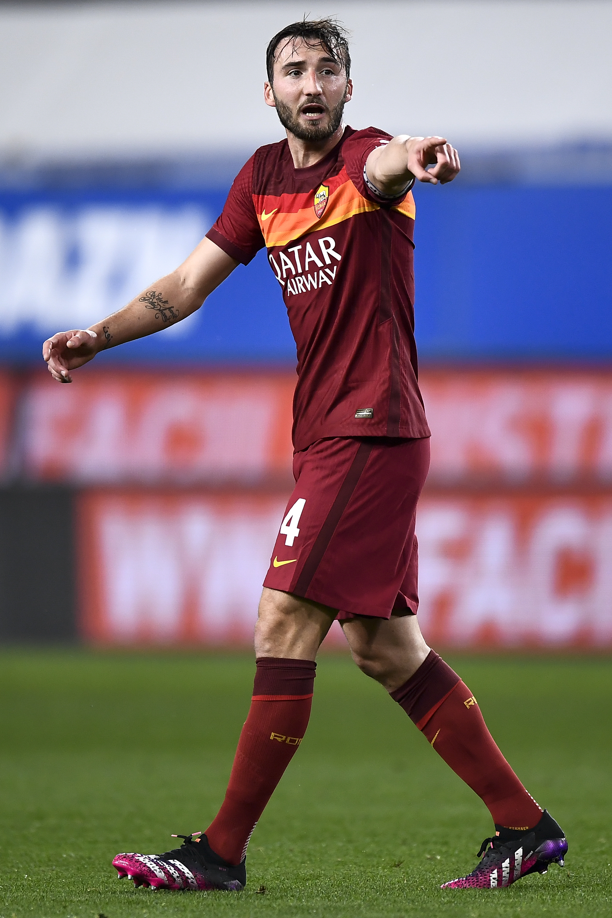 Bryan Cristante of AS Roma gestures during the Serie A...