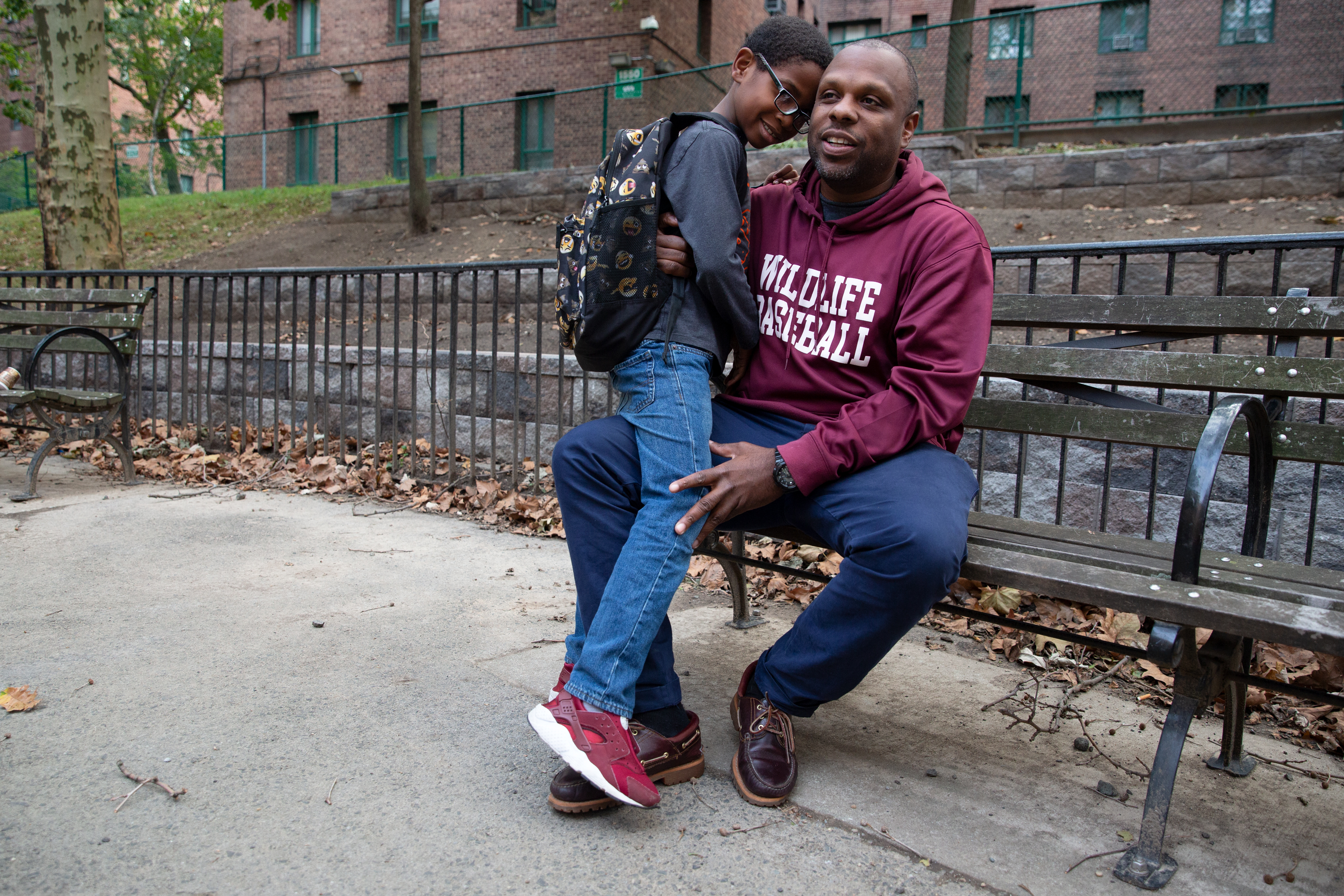 Chancy Marsh IV and his son, Malcolm Marsh, spend time together in their Parkchester, Bronx, home.
