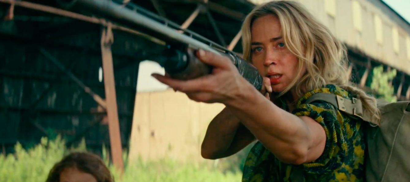 a quiet place part 2 - Emily Blunt aiming a shotgun