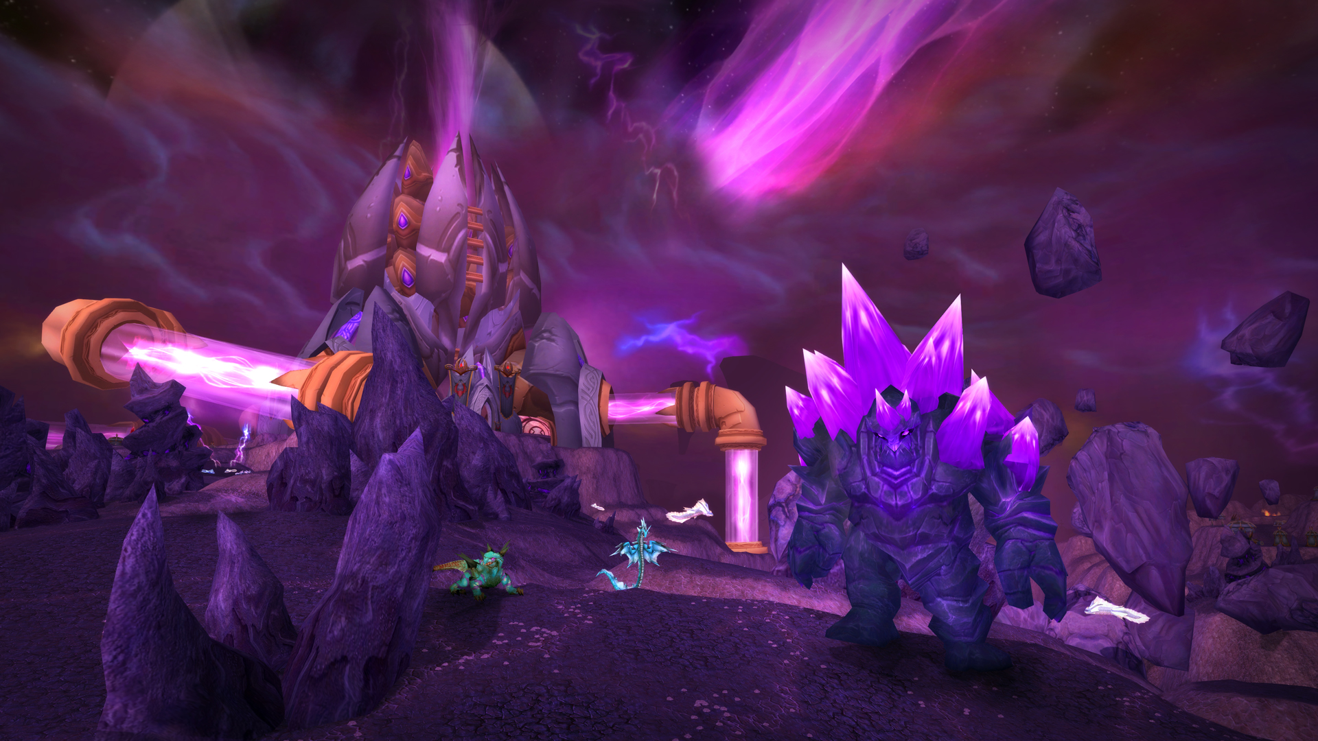 World of Warcraft: Burning Crusade Classic - a giant mana golem patrols the shattered realm of Netherstorm